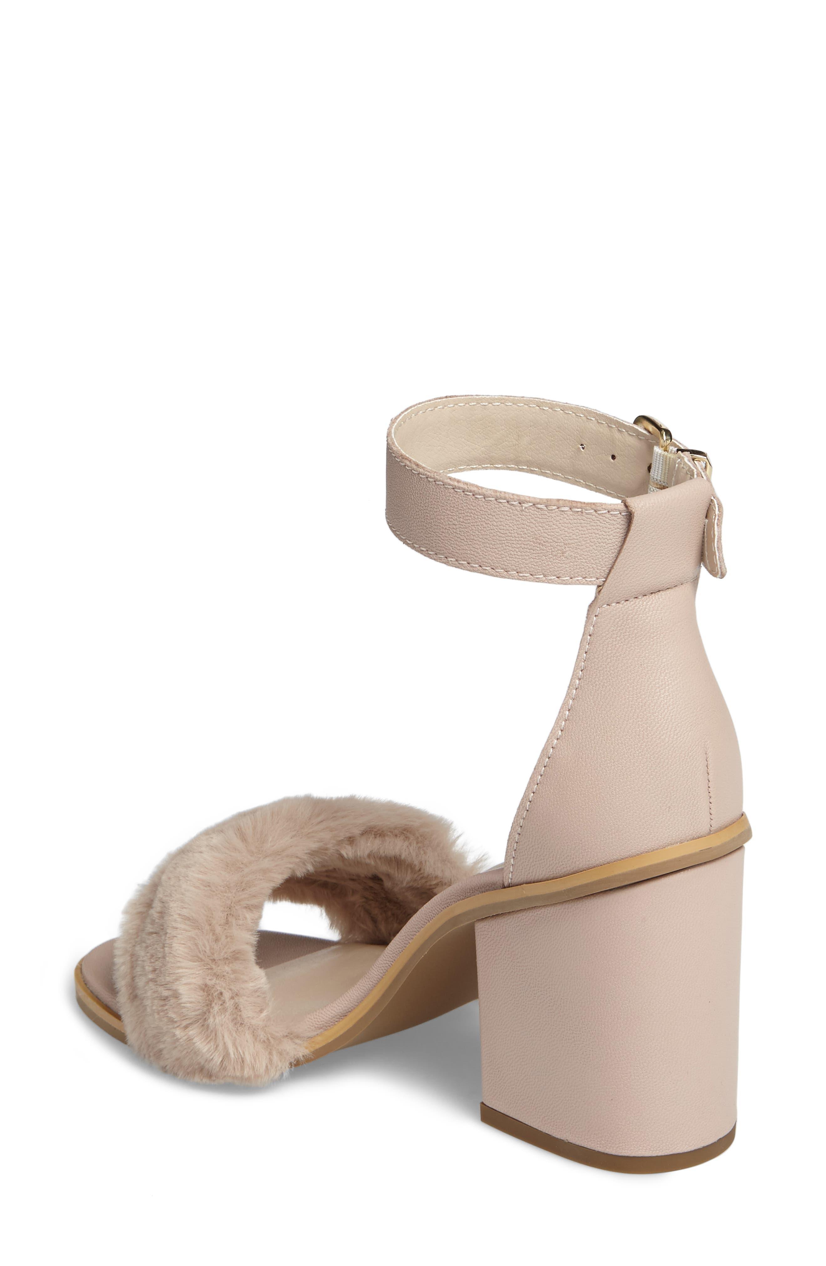 Faux Fur Ankle Strap Sandal,                             Alternate thumbnail 4, color,