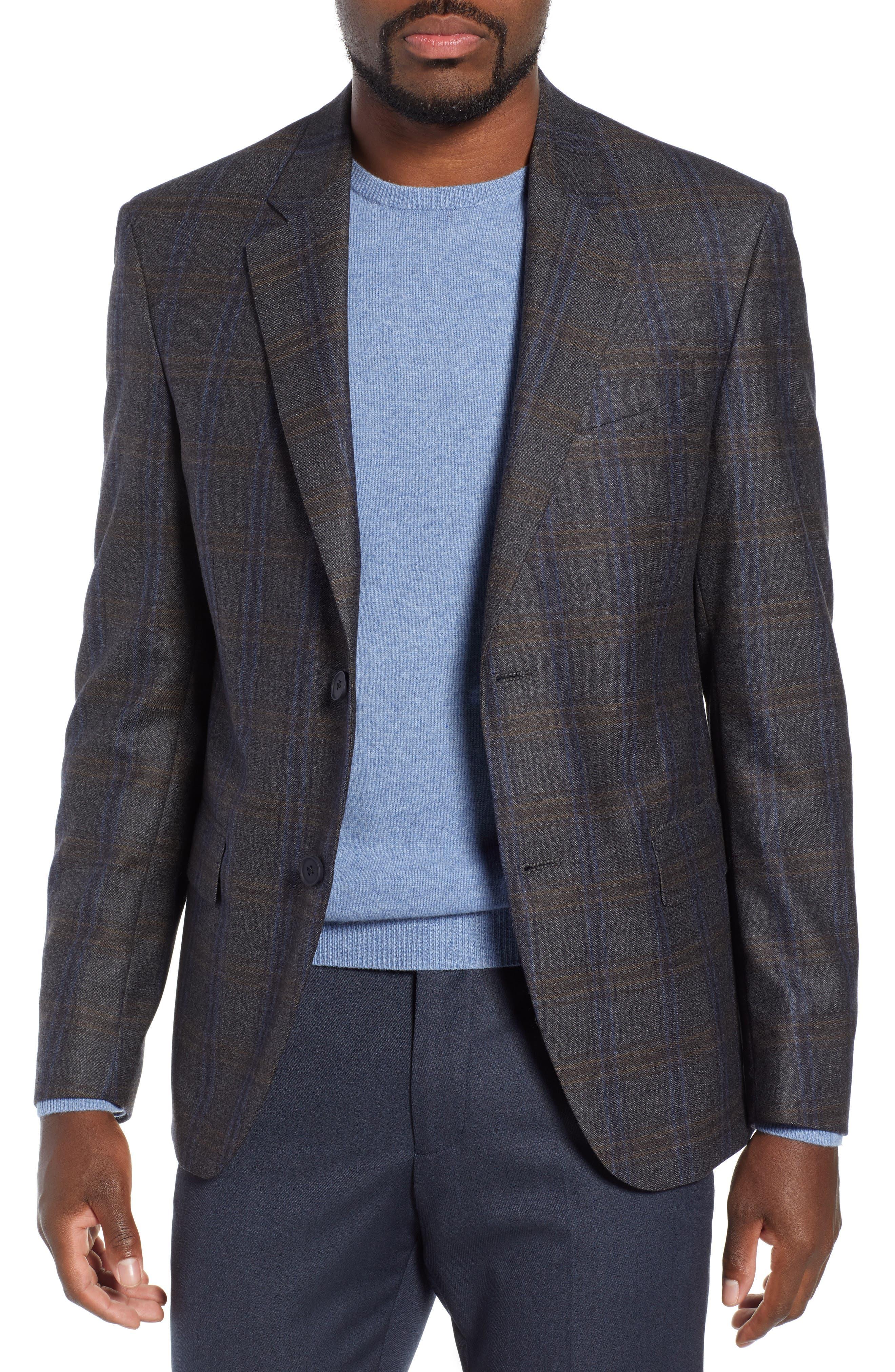 NORDSTROM MEN'S SHOP Trim Fit Plaid Wool Sport Coat, Main, color, 010