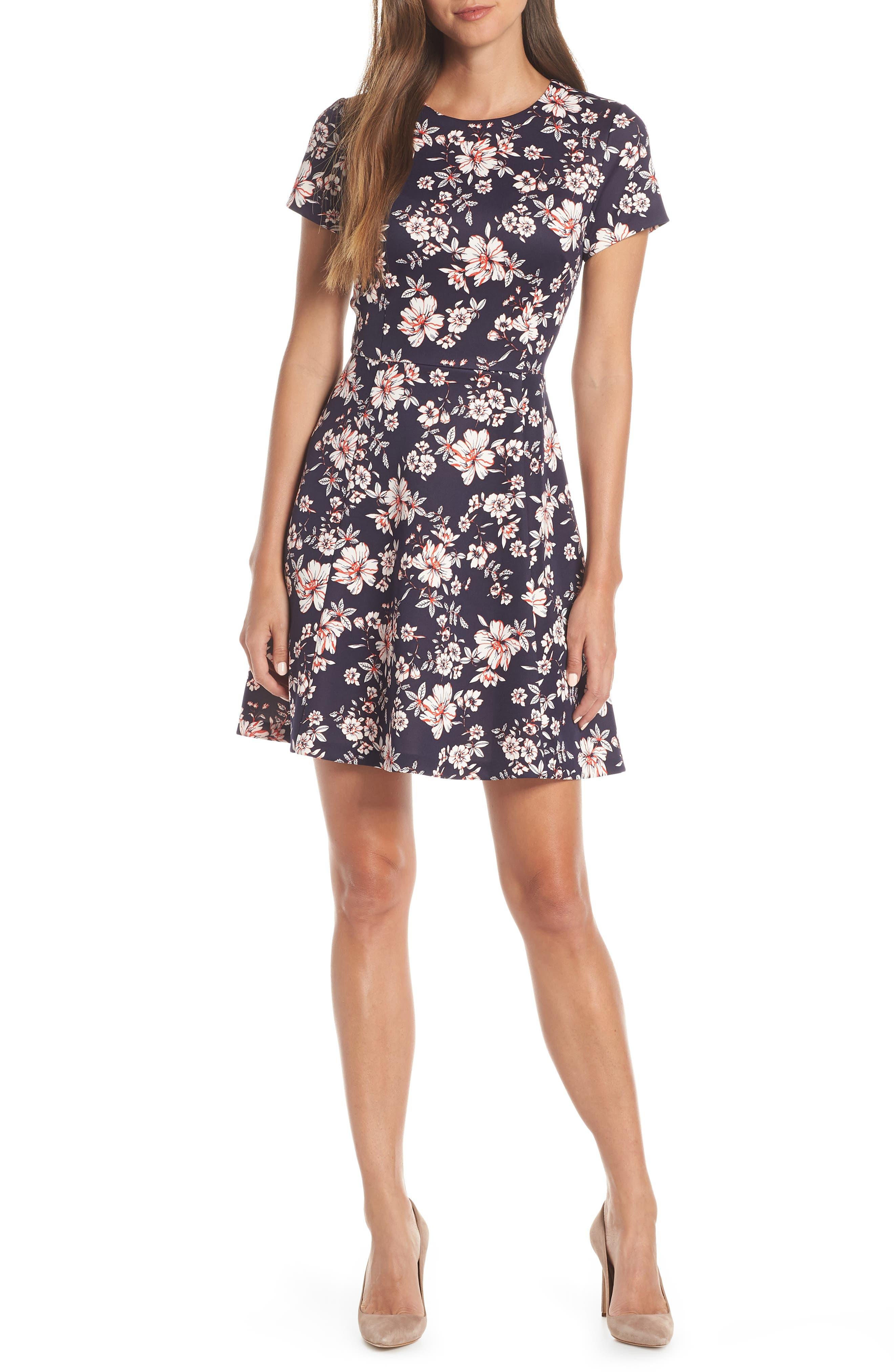 Petite Vince Camuto Floral Print Scuba Crepe Fit & Flare Dress, Blue