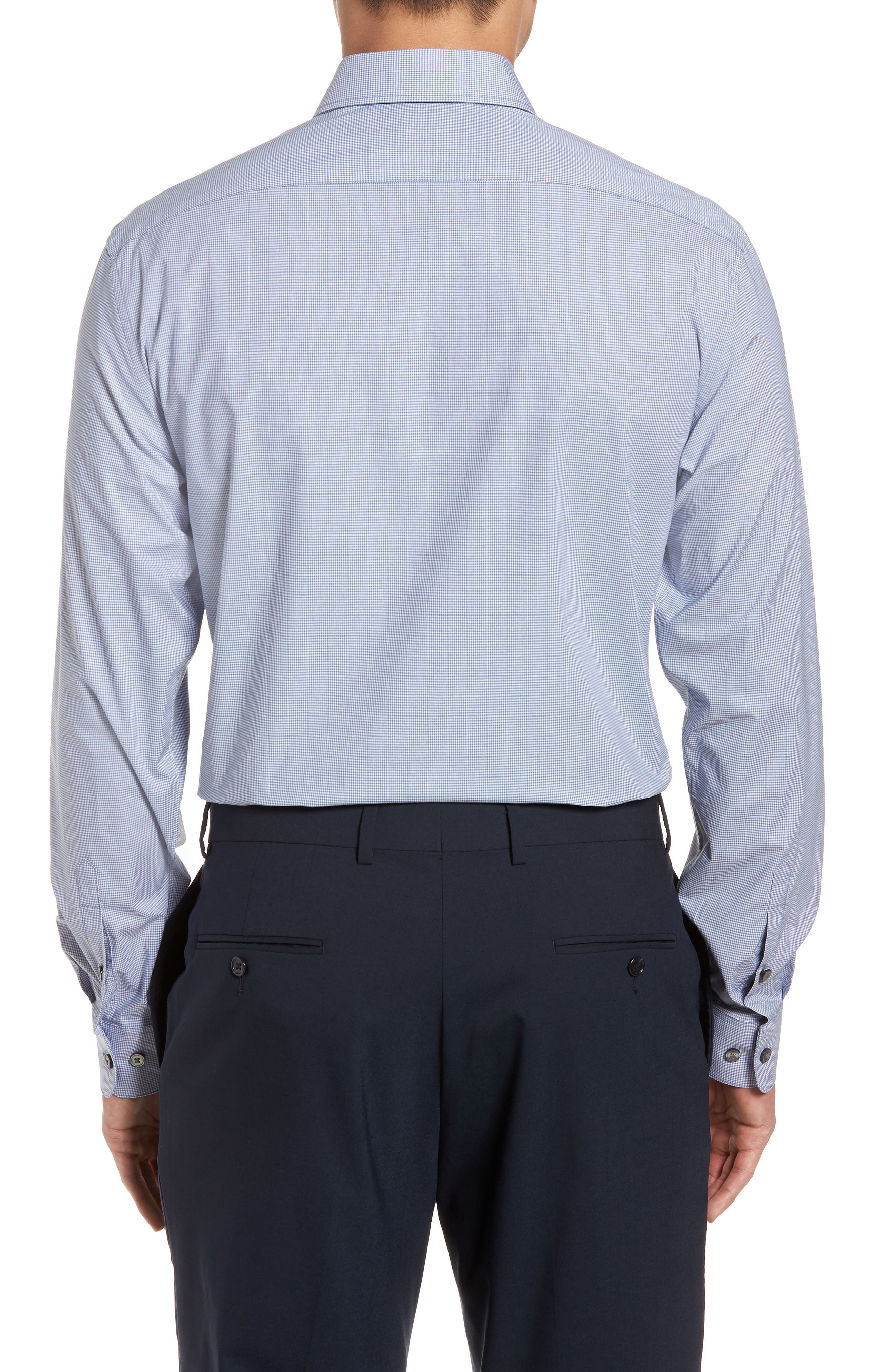 Regular Fit Stretch Microcheck Dress Shirt,                             Alternate thumbnail 3, color,                             DUSTED BLUE