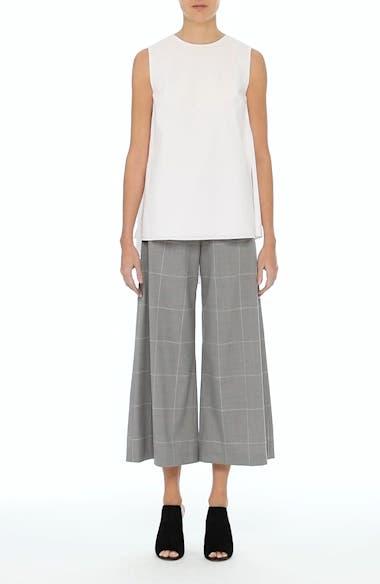 Windowpane Check Wool Wide Leg Crop Pants, video thumbnail