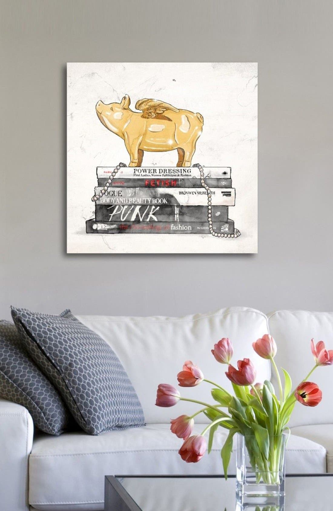 Flying Pig Books Luxe Canvas Print,                             Alternate thumbnail 4, color,