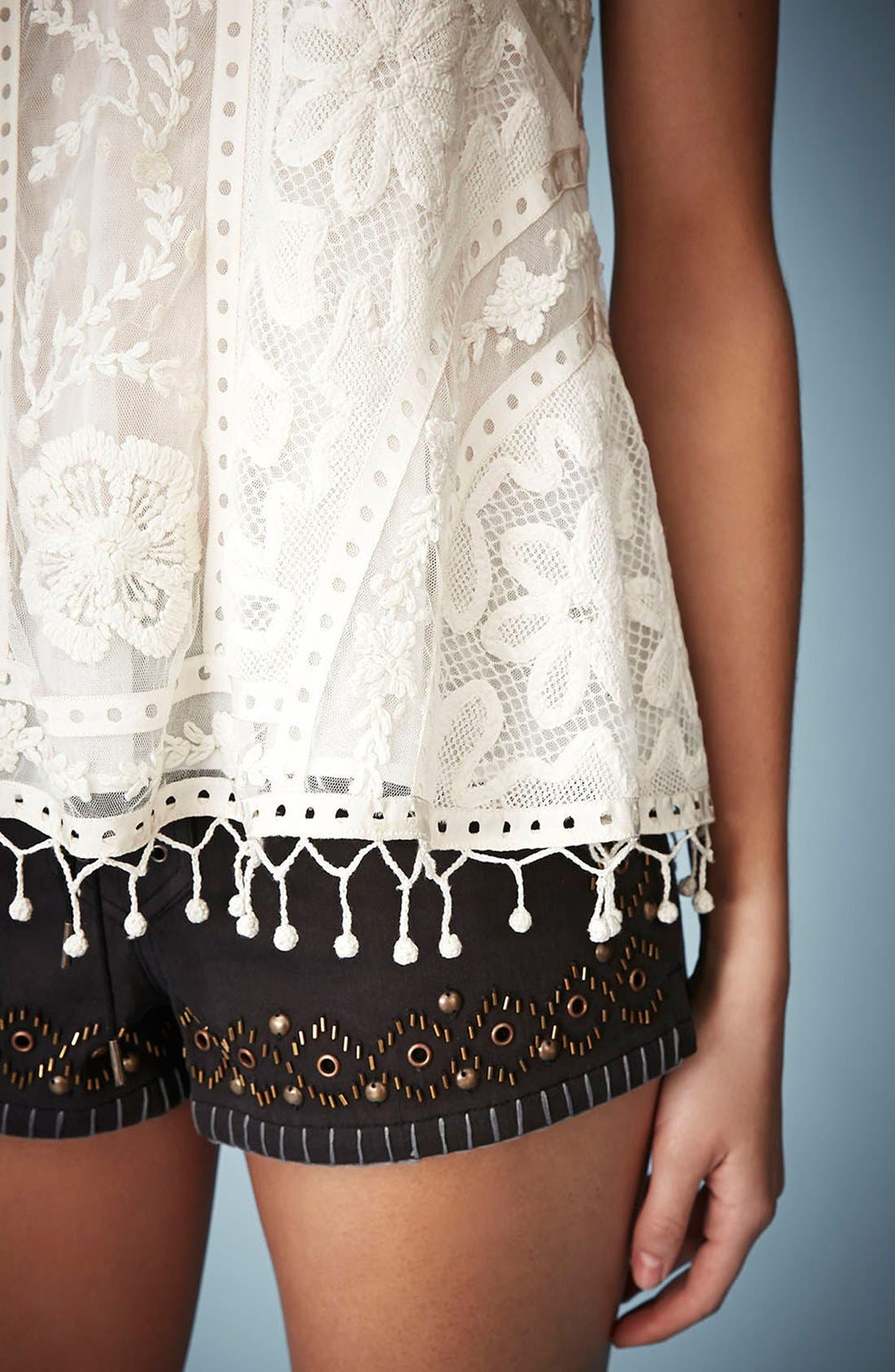 Kate Moss for Topshop Lace Swing Camisole,                             Alternate thumbnail 4, color,