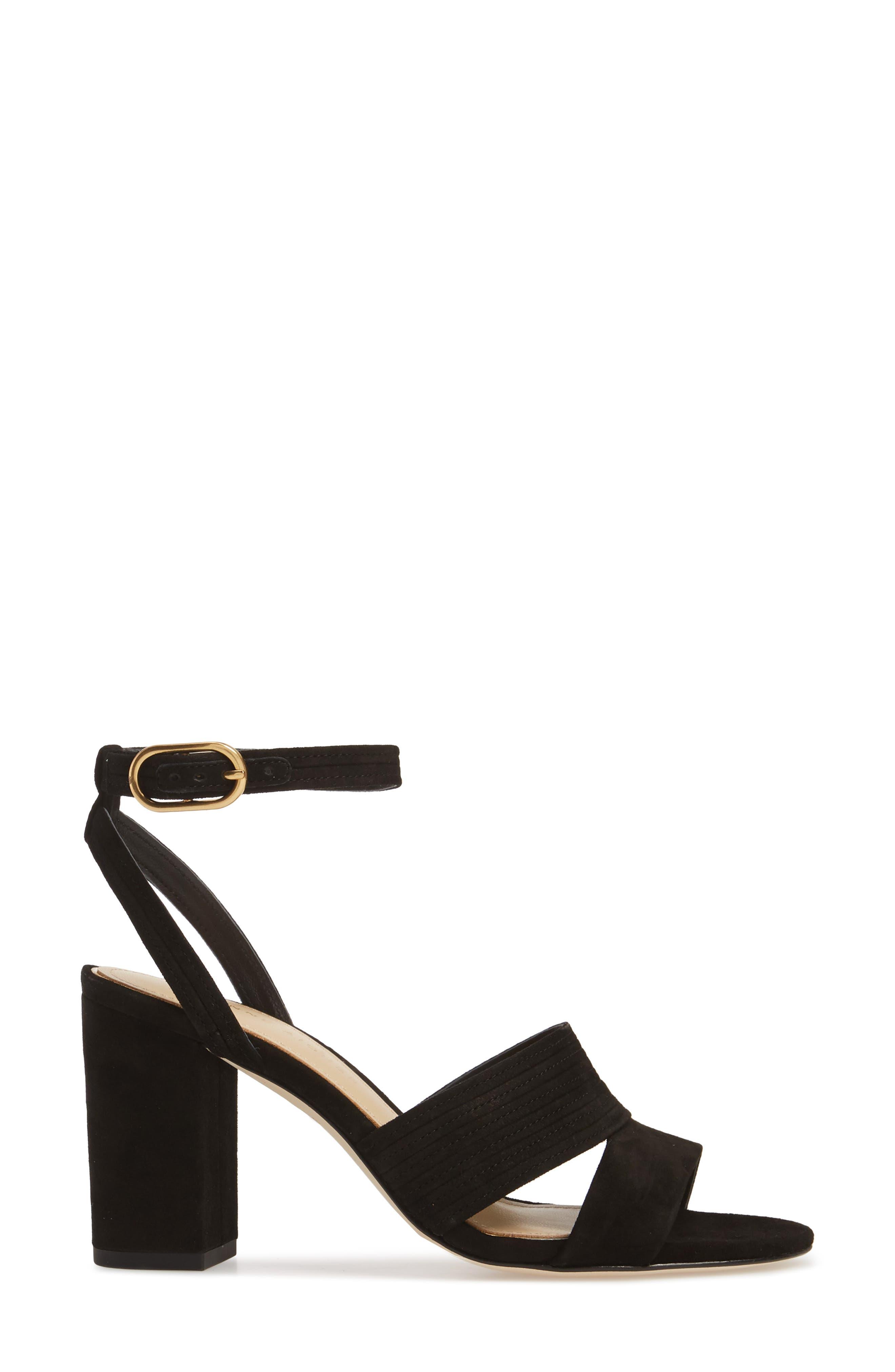 Legend Ankle Strap Sandal,                             Alternate thumbnail 3, color,                             BLACK SUEDE