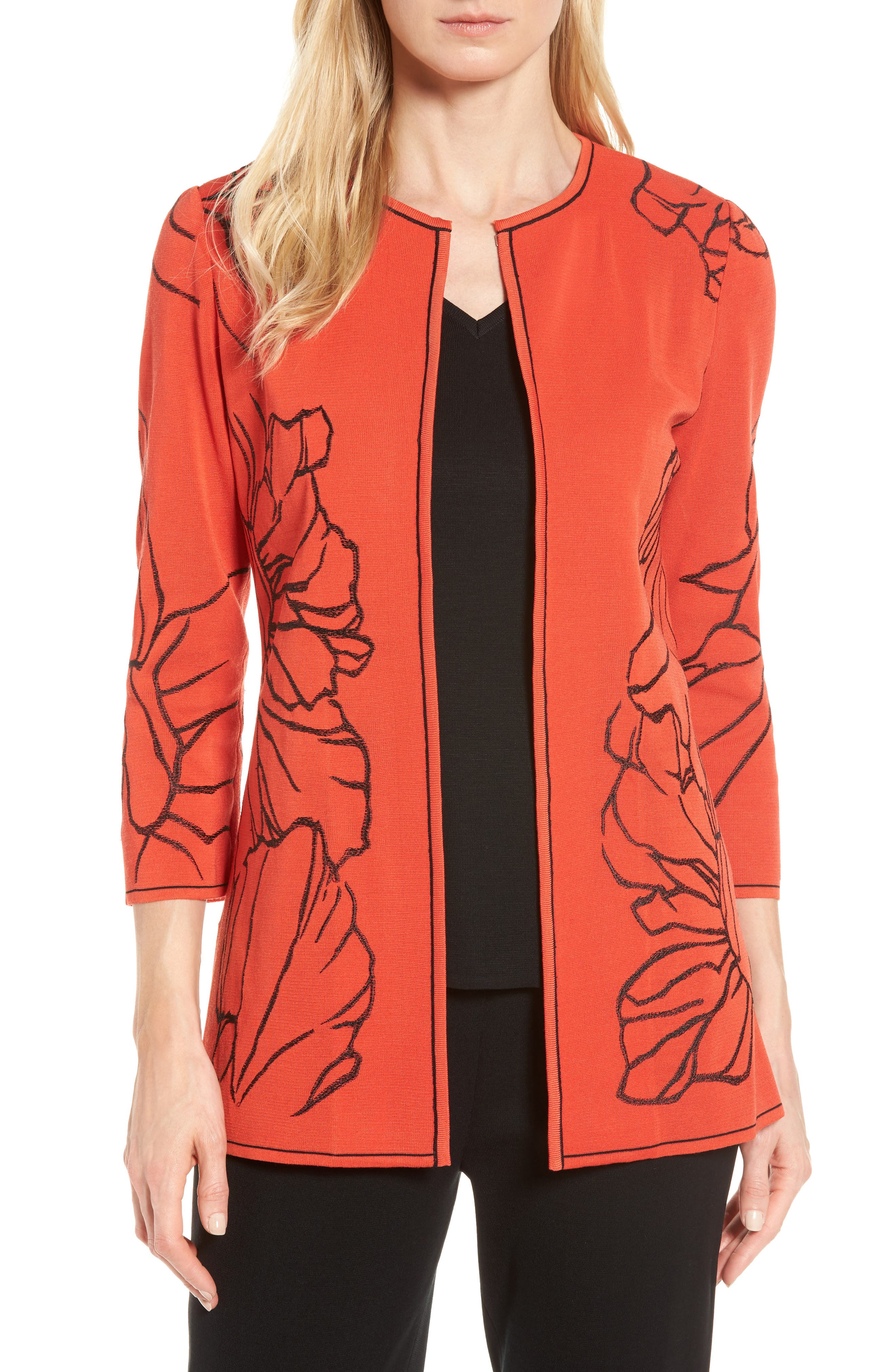 Embroidered Knit Jacket,                         Main,                         color, 608