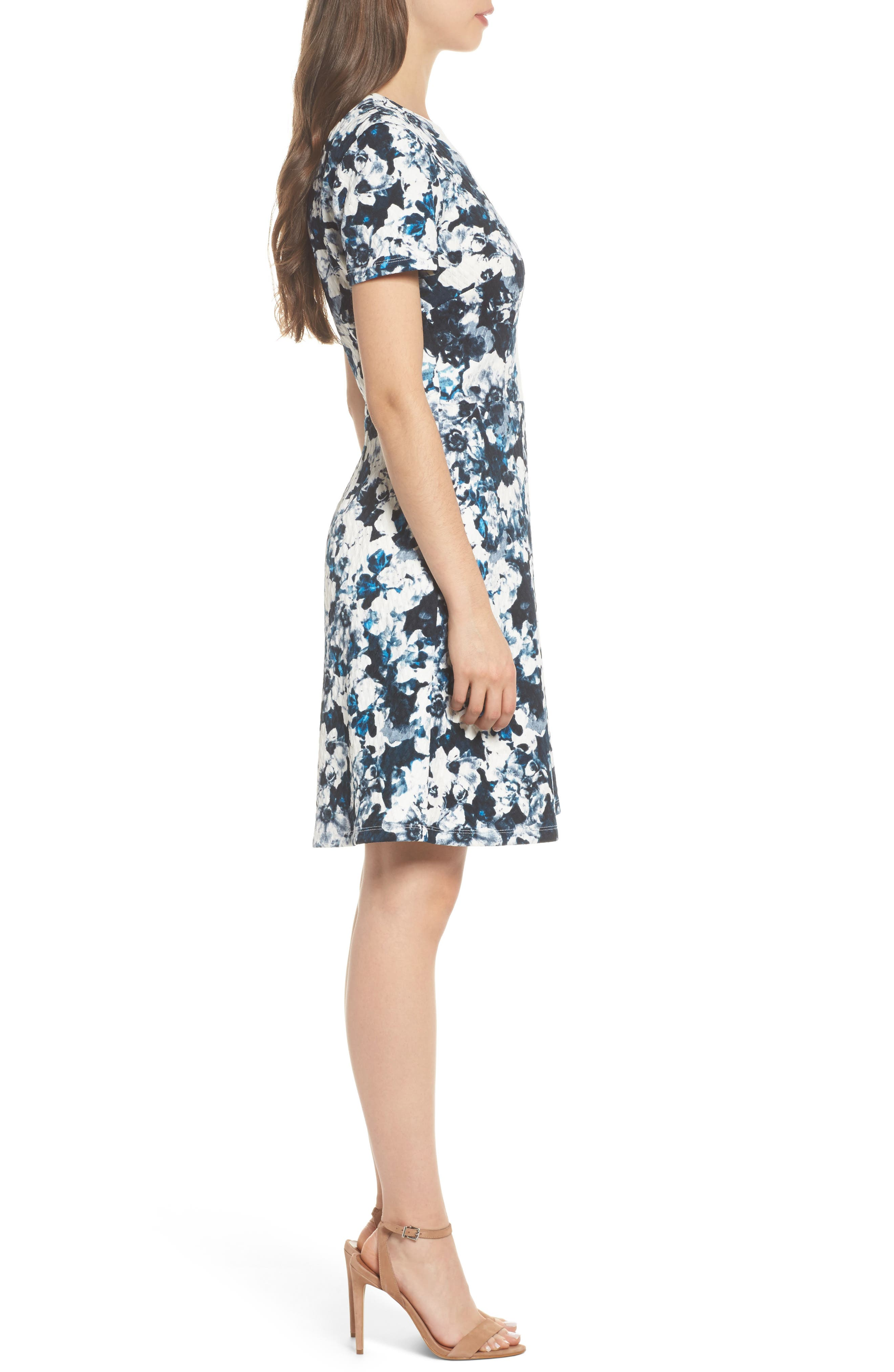 Harlequin Texture Print Fit & Flare Dress,                             Alternate thumbnail 3, color,                             465