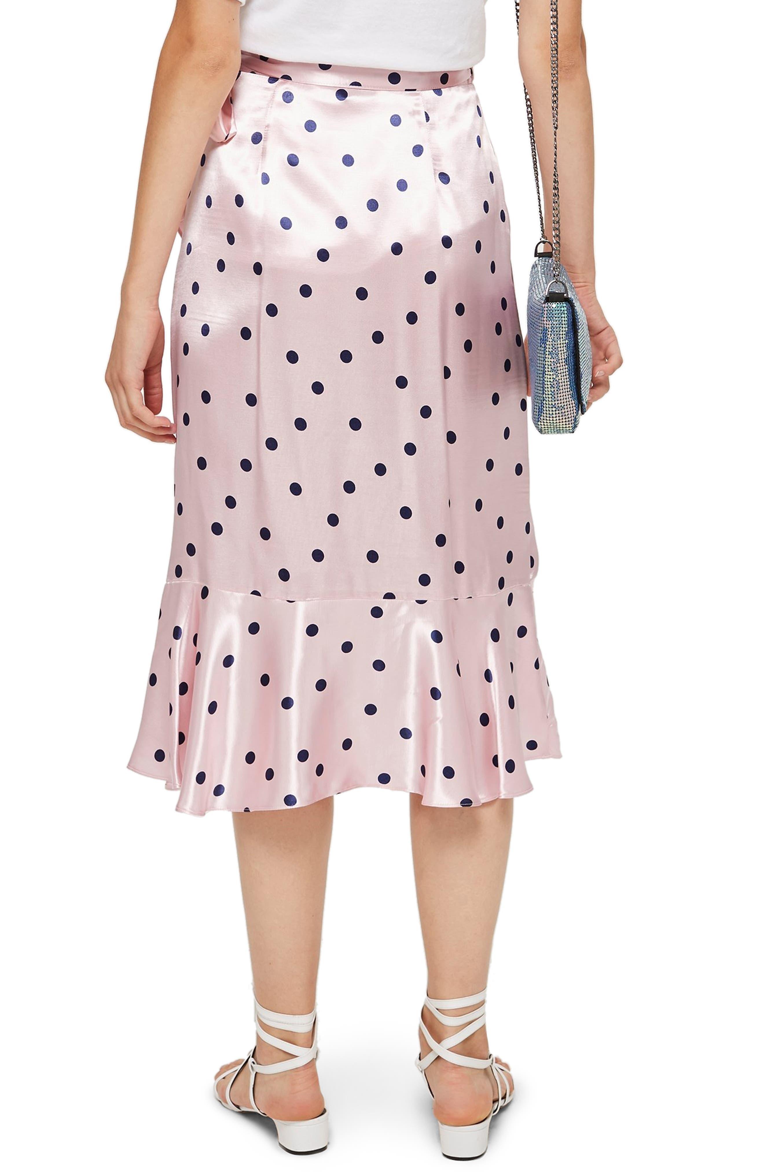 Satin Spot Ruffle Skirt,                             Alternate thumbnail 2, color,                             PINK MULTI
