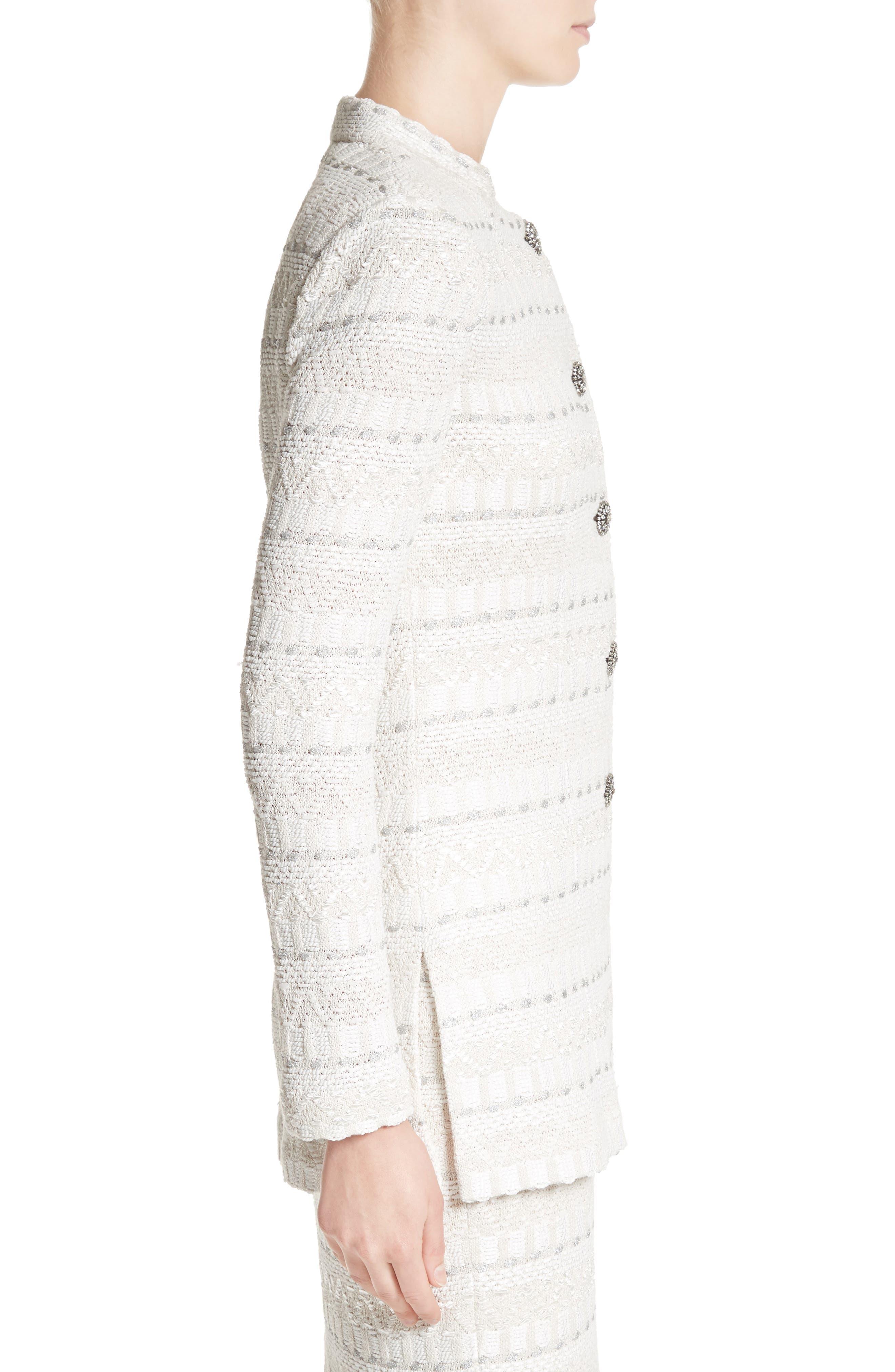 Samar Knit Tweed Jacket,                             Alternate thumbnail 3, color,                             100