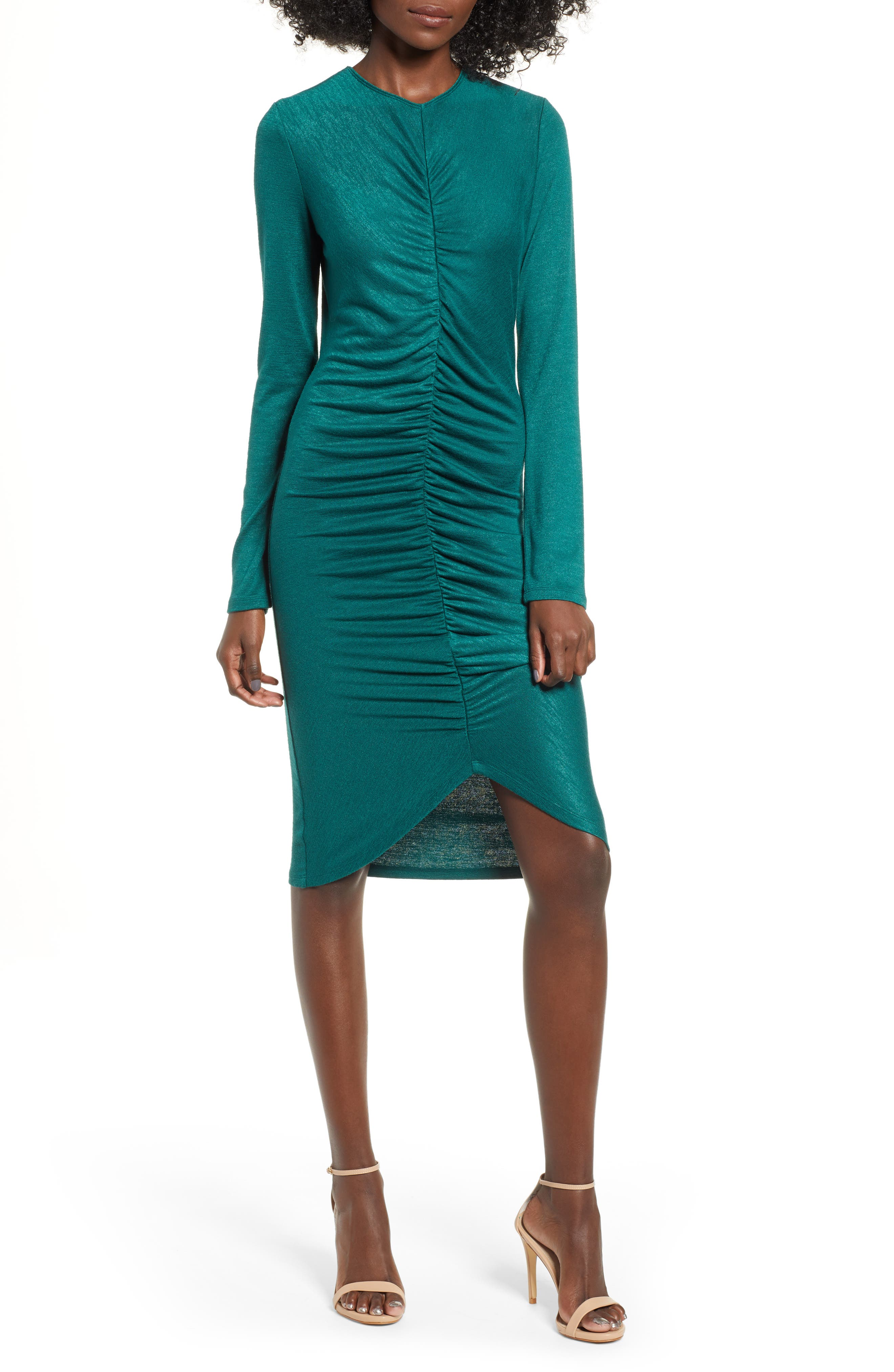 Leith Ruched Front Dress, Green