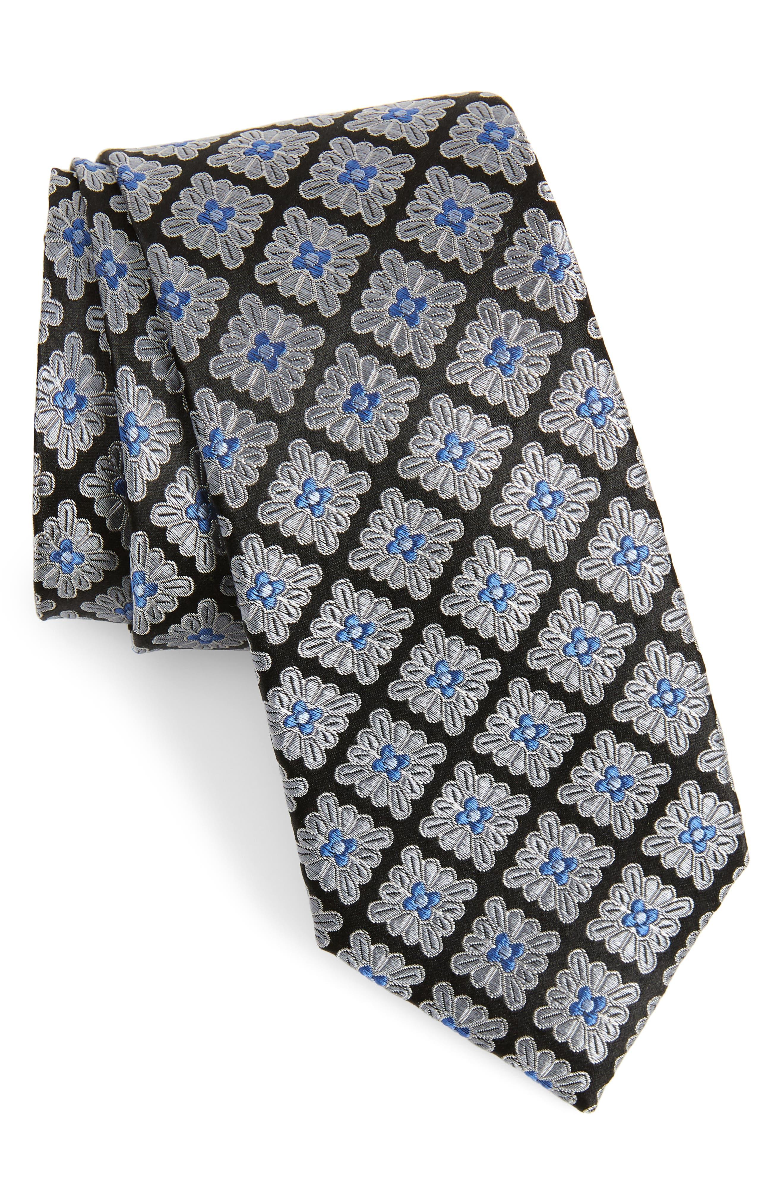 Lily Medallion Silk Tie,                             Main thumbnail 1, color,                             BLACK