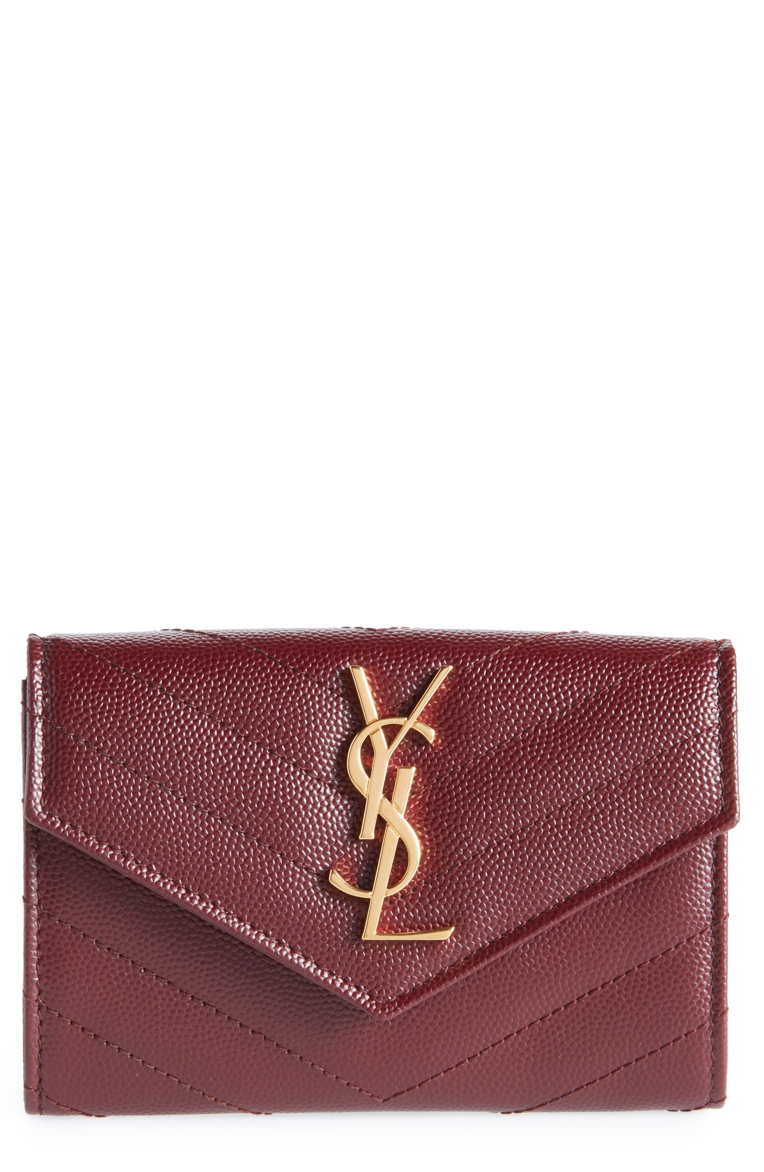 'Monogram' Quilted Leather French Wallet,                             Main thumbnail 1, color,                             ROUGE LEGION