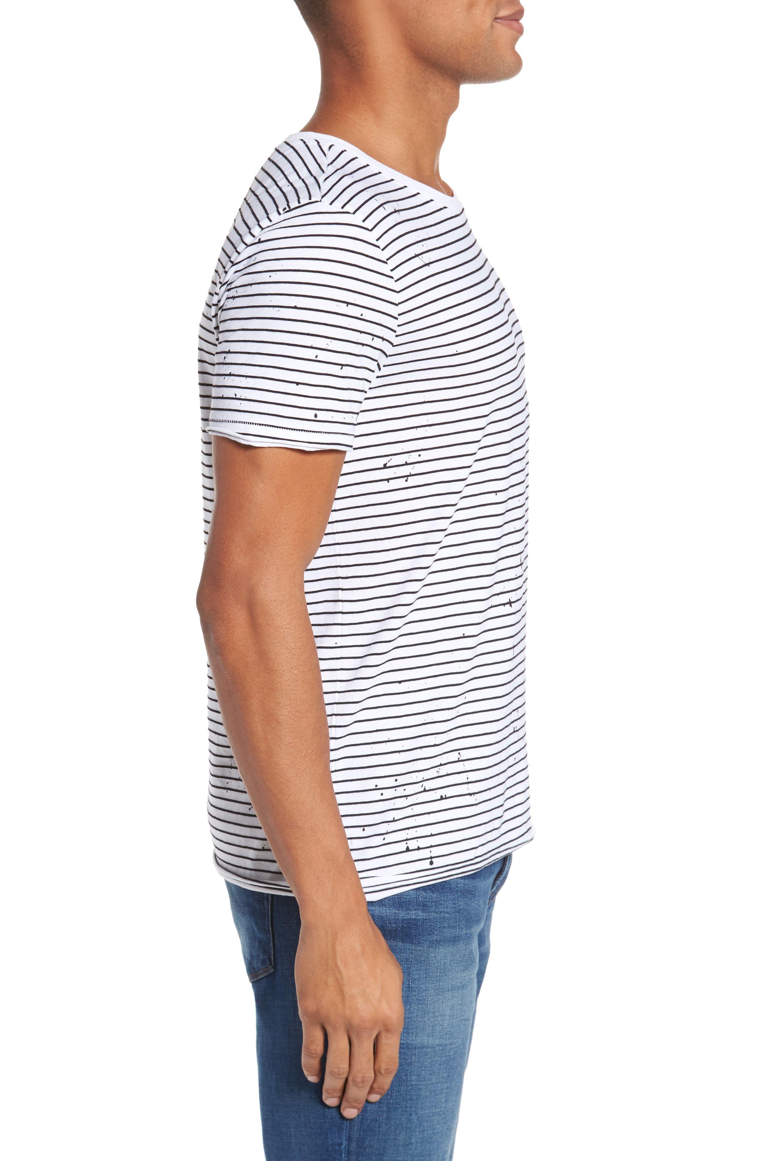 Julian Slim Fit Stripe Raw T-Shirt,                             Alternate thumbnail 3, color,                             100
