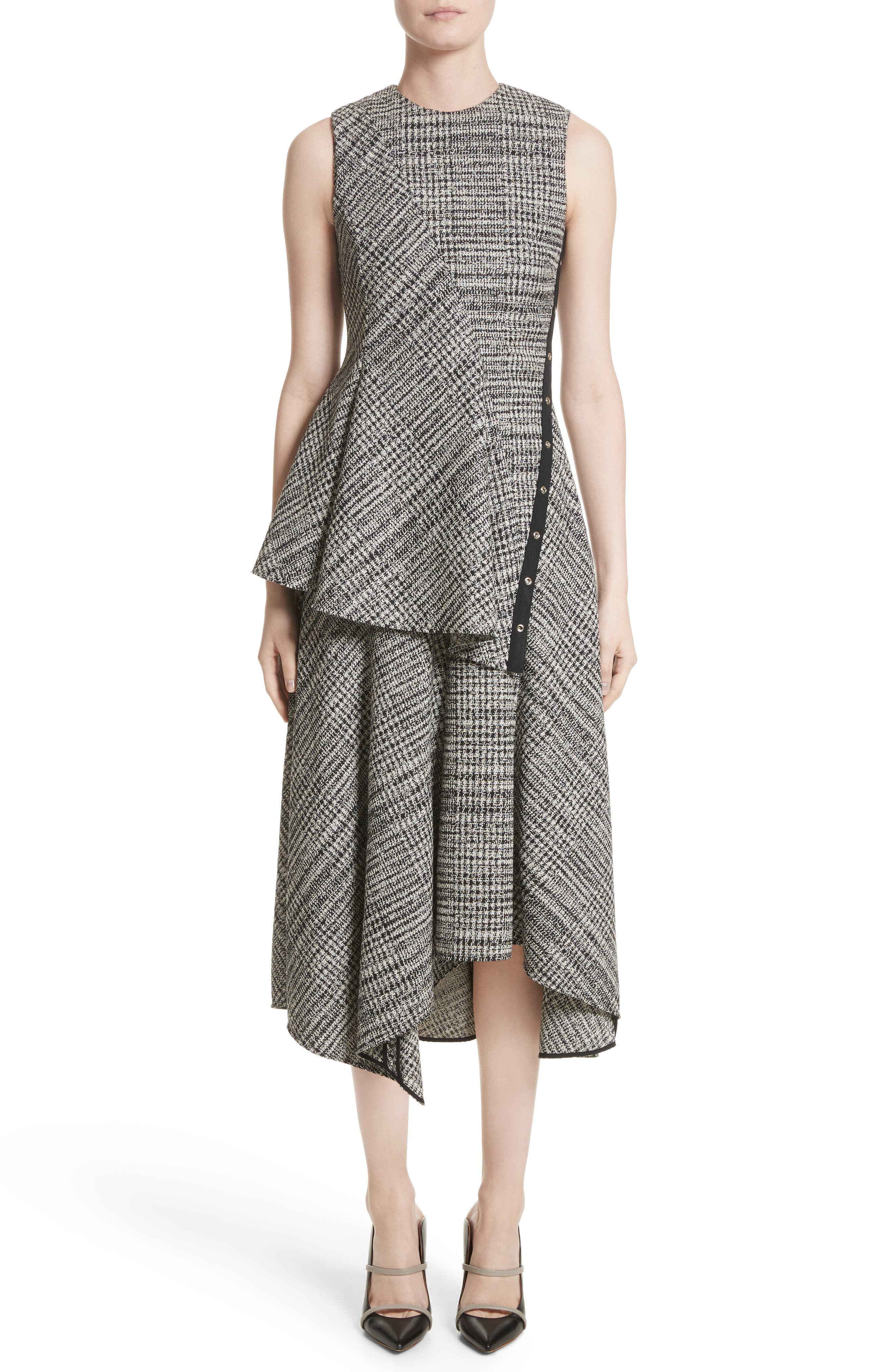 Check Wool Fit & Flare Dress,                             Alternate thumbnail 6, color,                             001