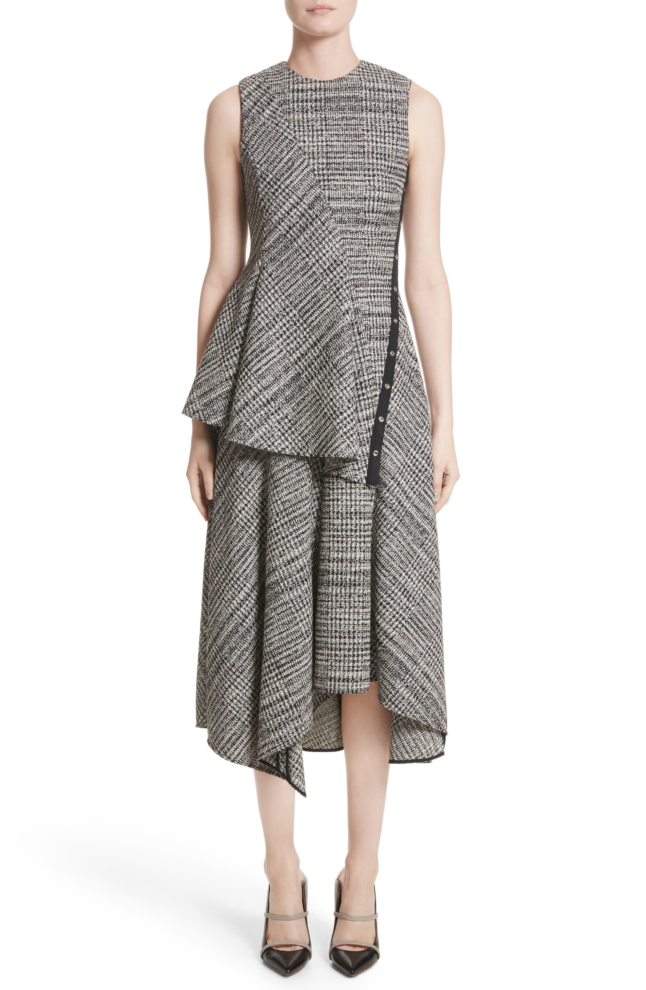 JASON WU COLLECTION,                             Jason Wu Check Wool Fit & Flare Dress,                             Alternate thumbnail 6, color,                             001