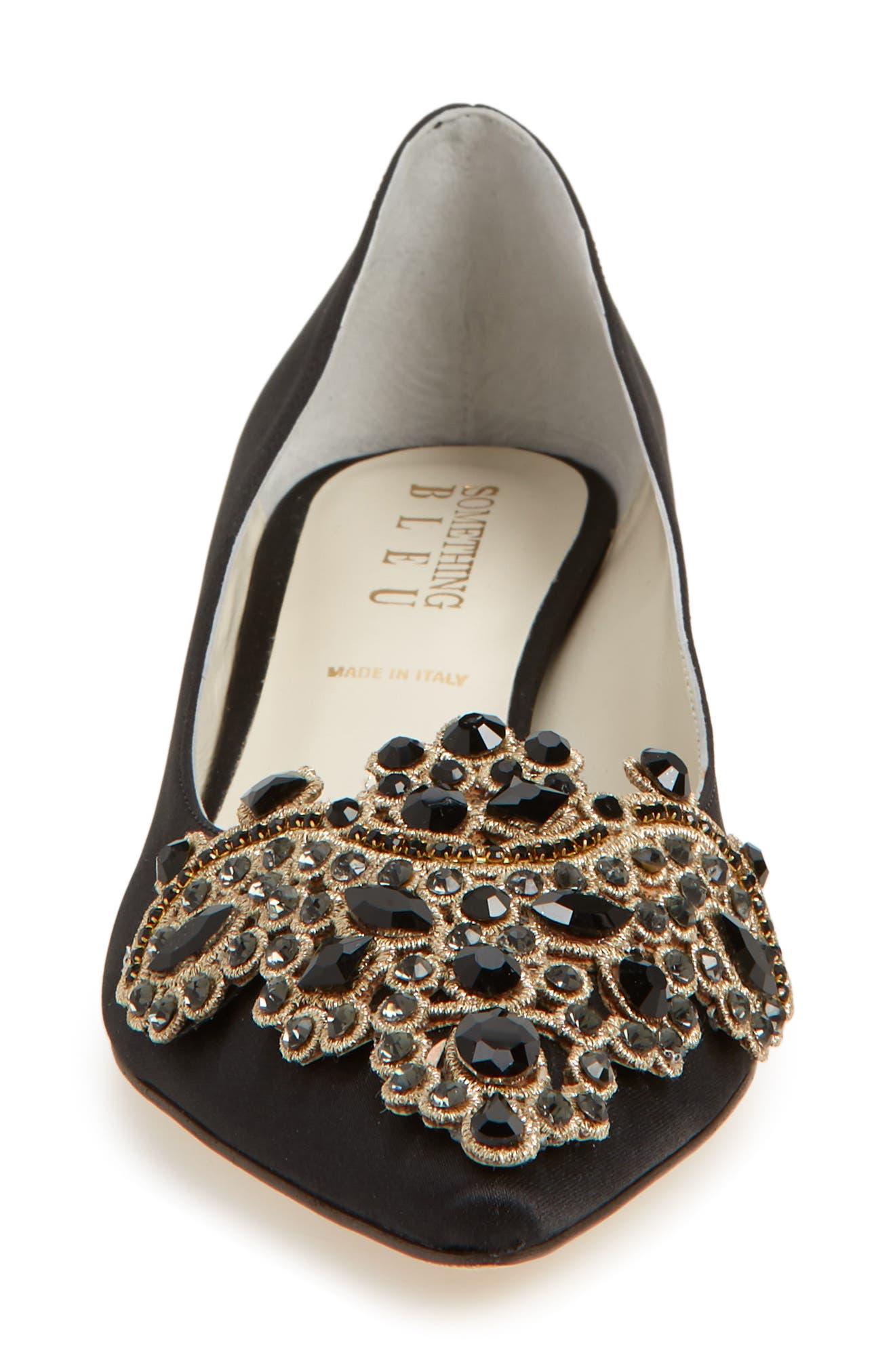 Brinsley Embellished Pointy Toe Pump,                             Alternate thumbnail 4, color,                             BLACK SATIN