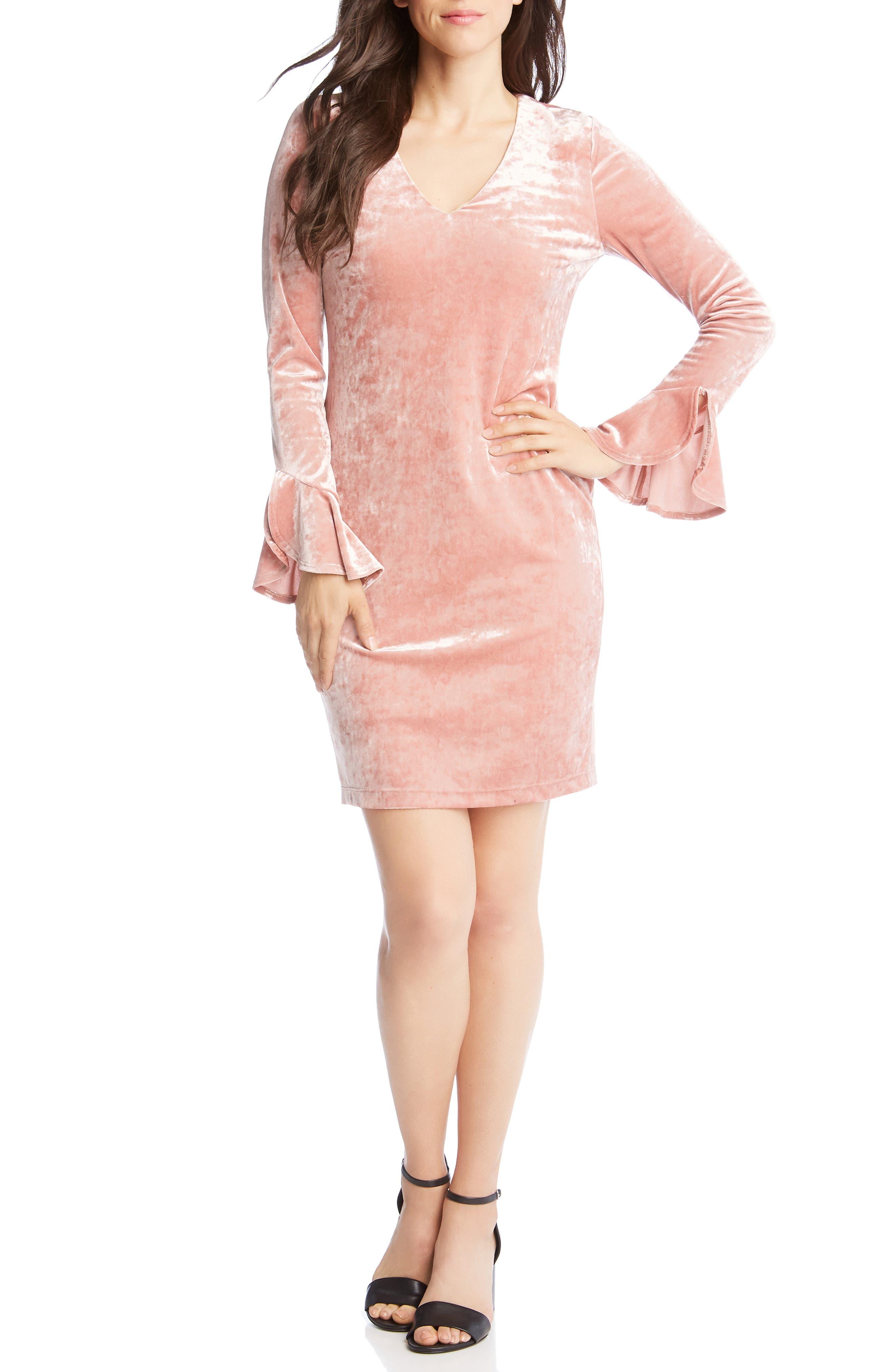 Karen Kane Ruffle Sleeve Velvet Sheath Dress, Pink