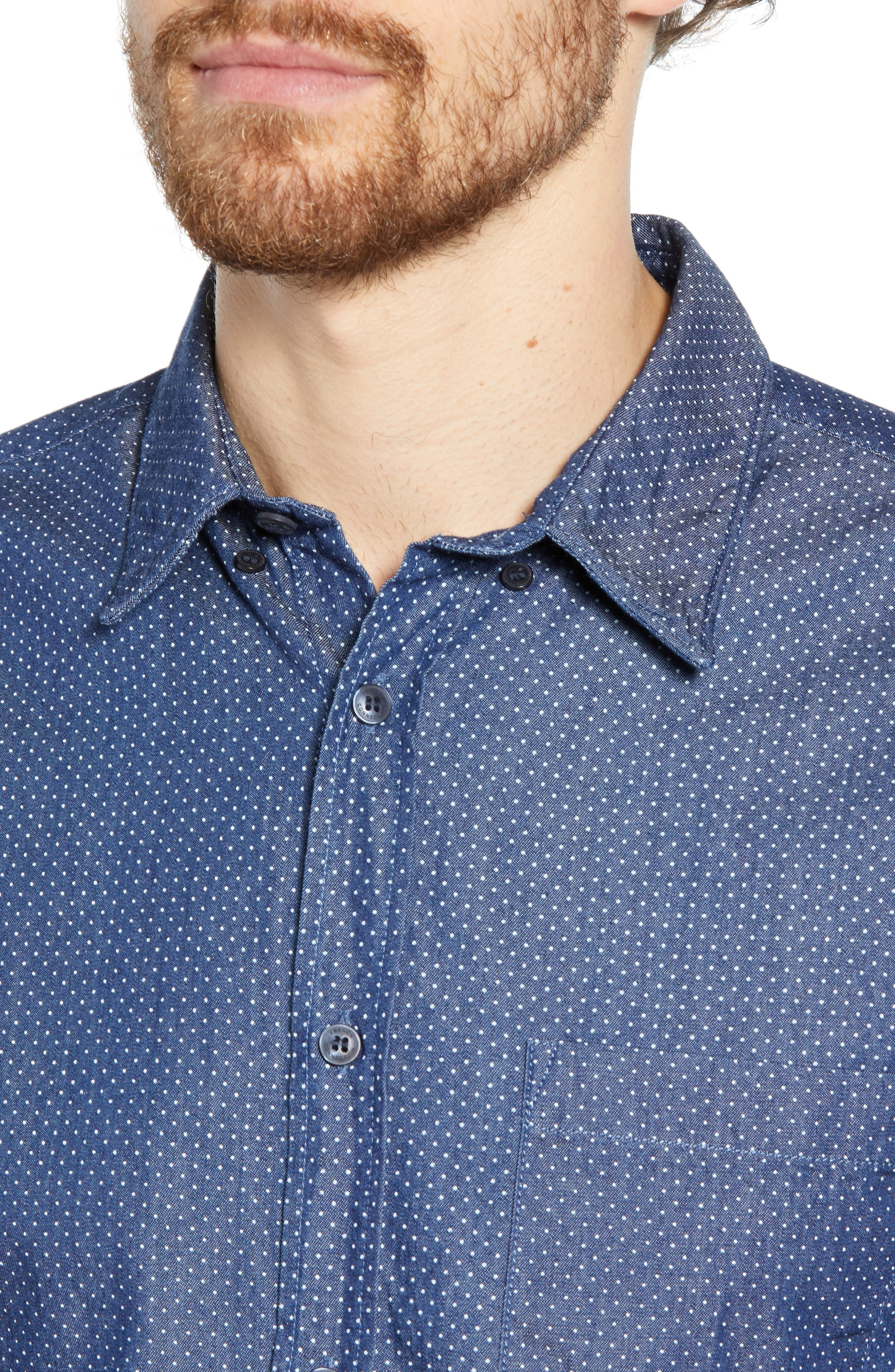 Dotted Regular Fit Chambray Shirt,                             Alternate thumbnail 2, color,                             CHAMBRAY MULTI