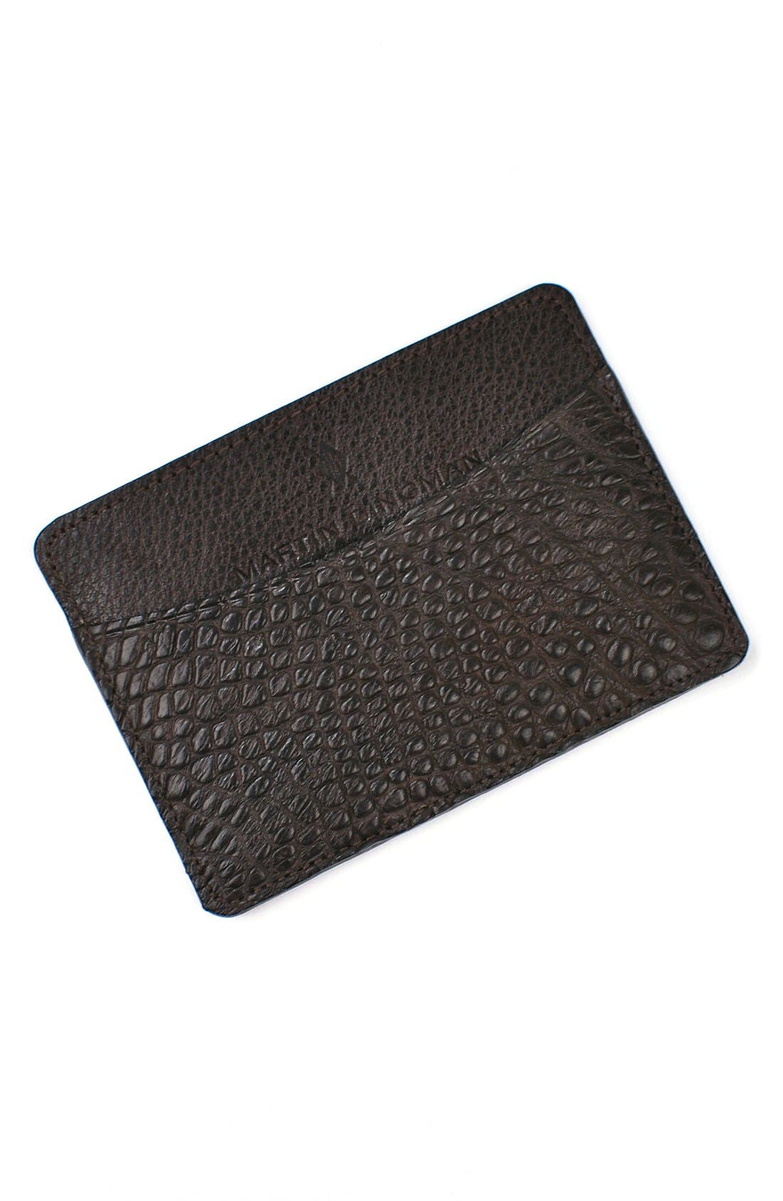 'Jameson' Matte Finish Genuine Alligator Leather Card Case,                             Main thumbnail 1, color,                             WALNUT