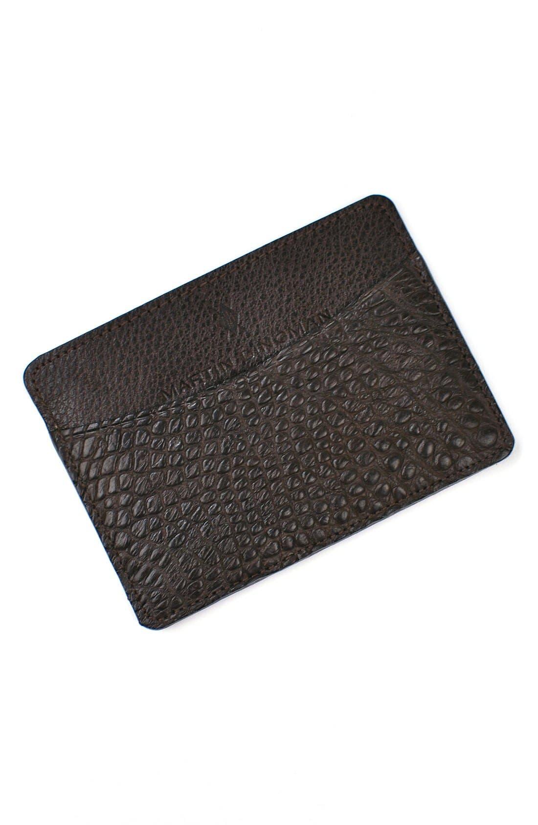 'Jameson' Matte Finish Genuine Alligator Leather Card Case,                         Main,                         color, WALNUT