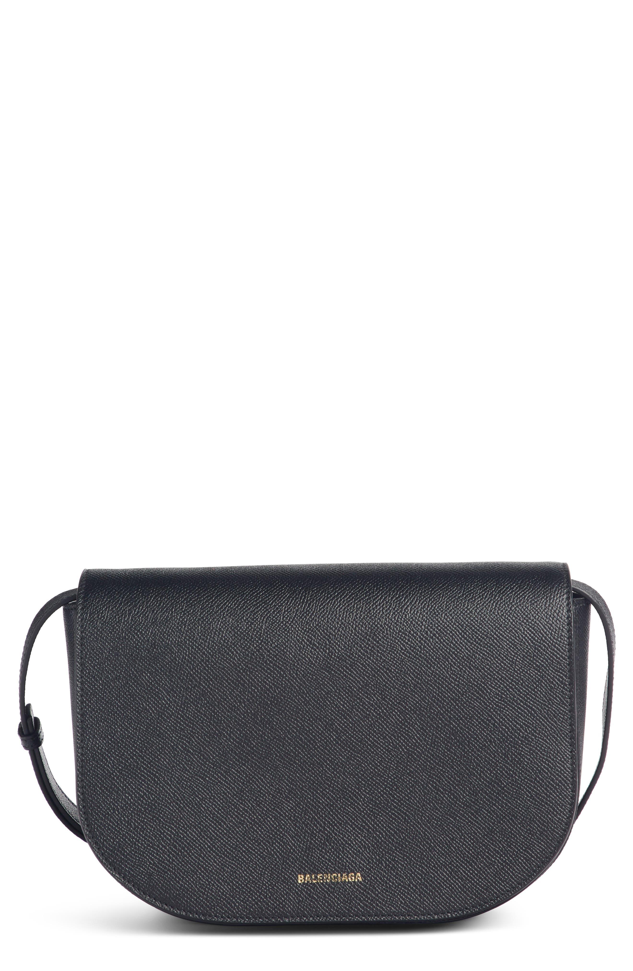 Small Ville Logo Leather Saddle Bag,                         Main,                         color, NOIR/ BLANC