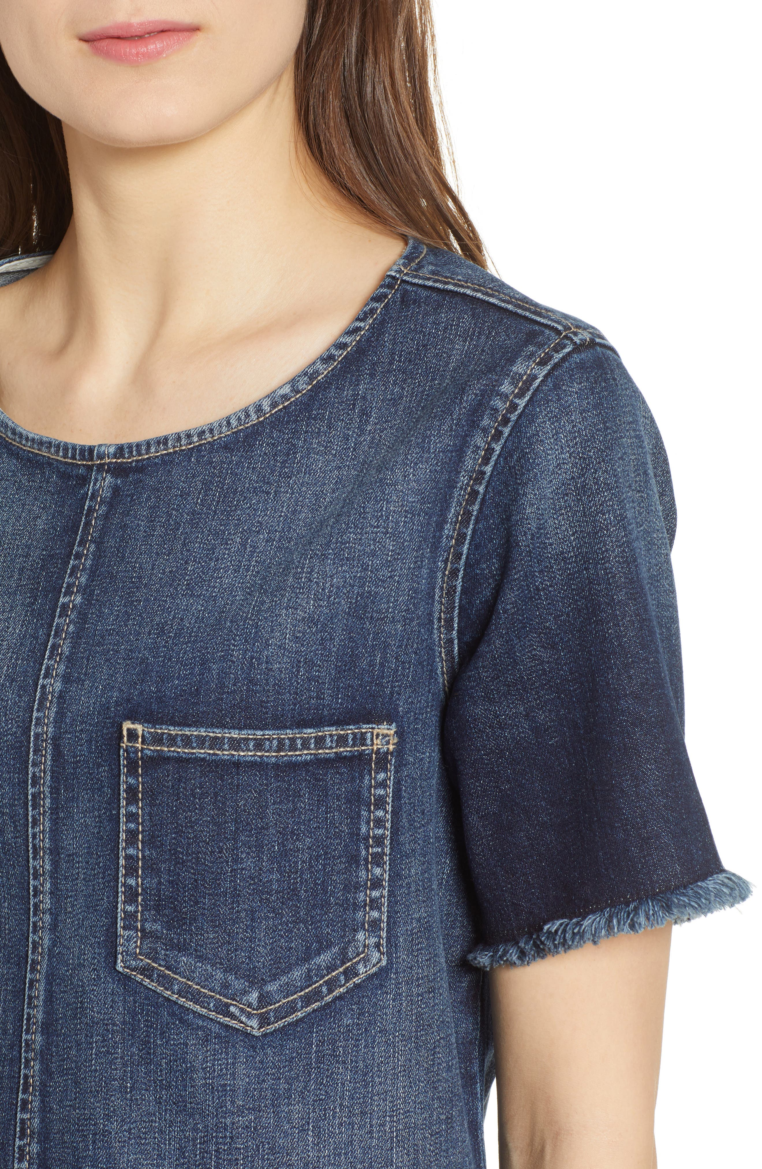 The Frayed Edge Denim Shift Dress,                             Alternate thumbnail 4, color,                             486