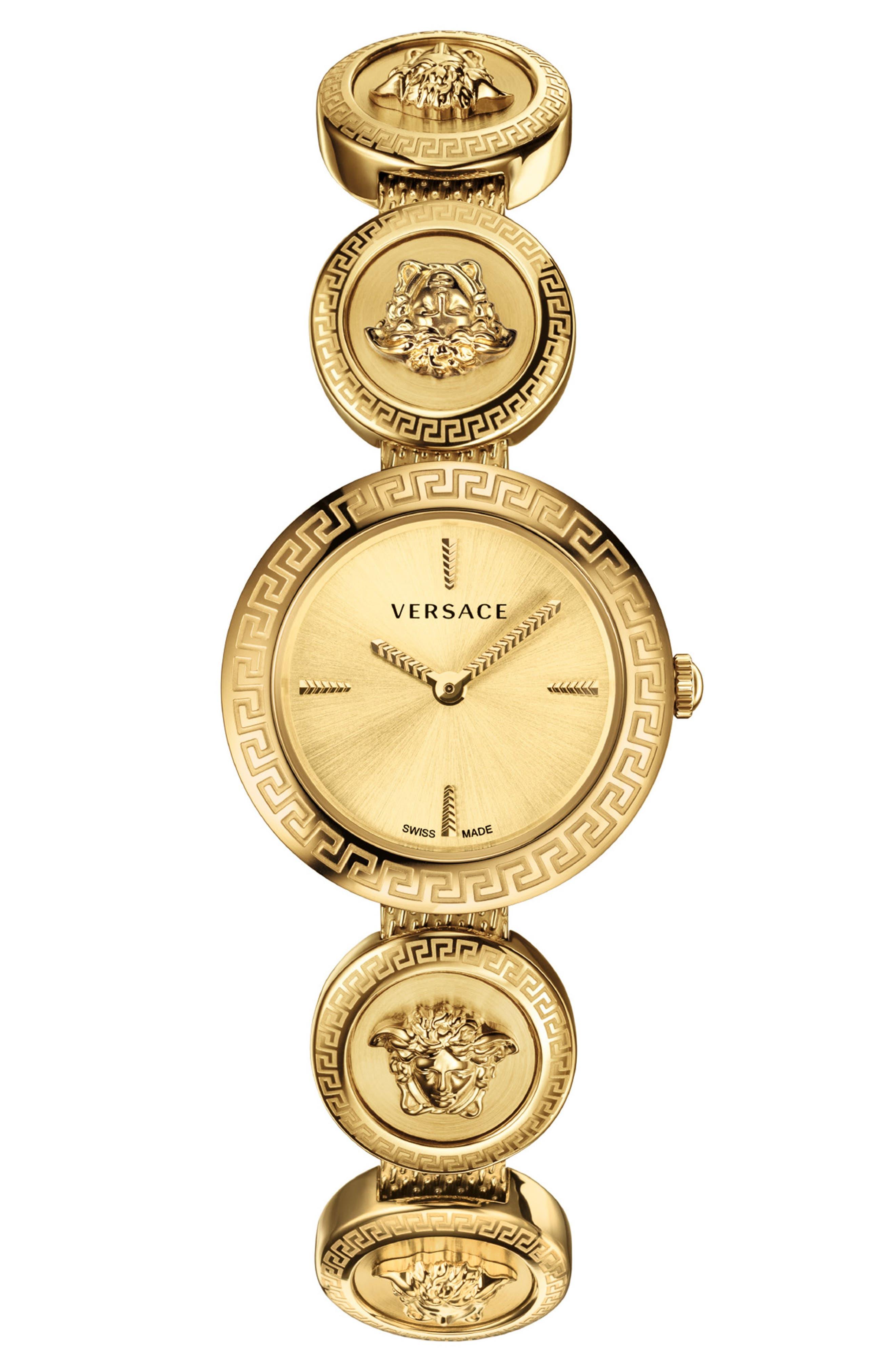 VERSACE,                             Medusa Stud Icon Bracelet Watch, 28mm,                             Main thumbnail 1, color,                             GOLD