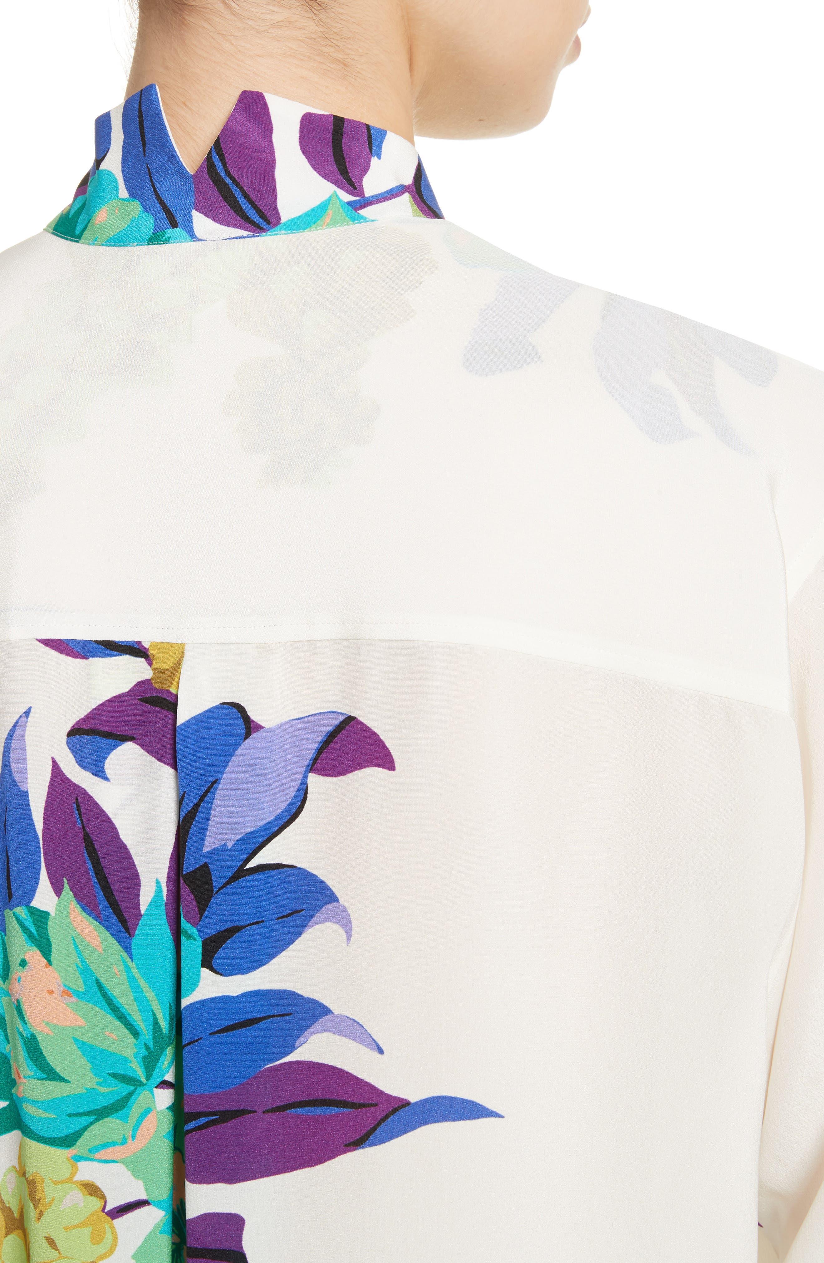 Floral Silk Blouse,                             Alternate thumbnail 4, color,                             100
