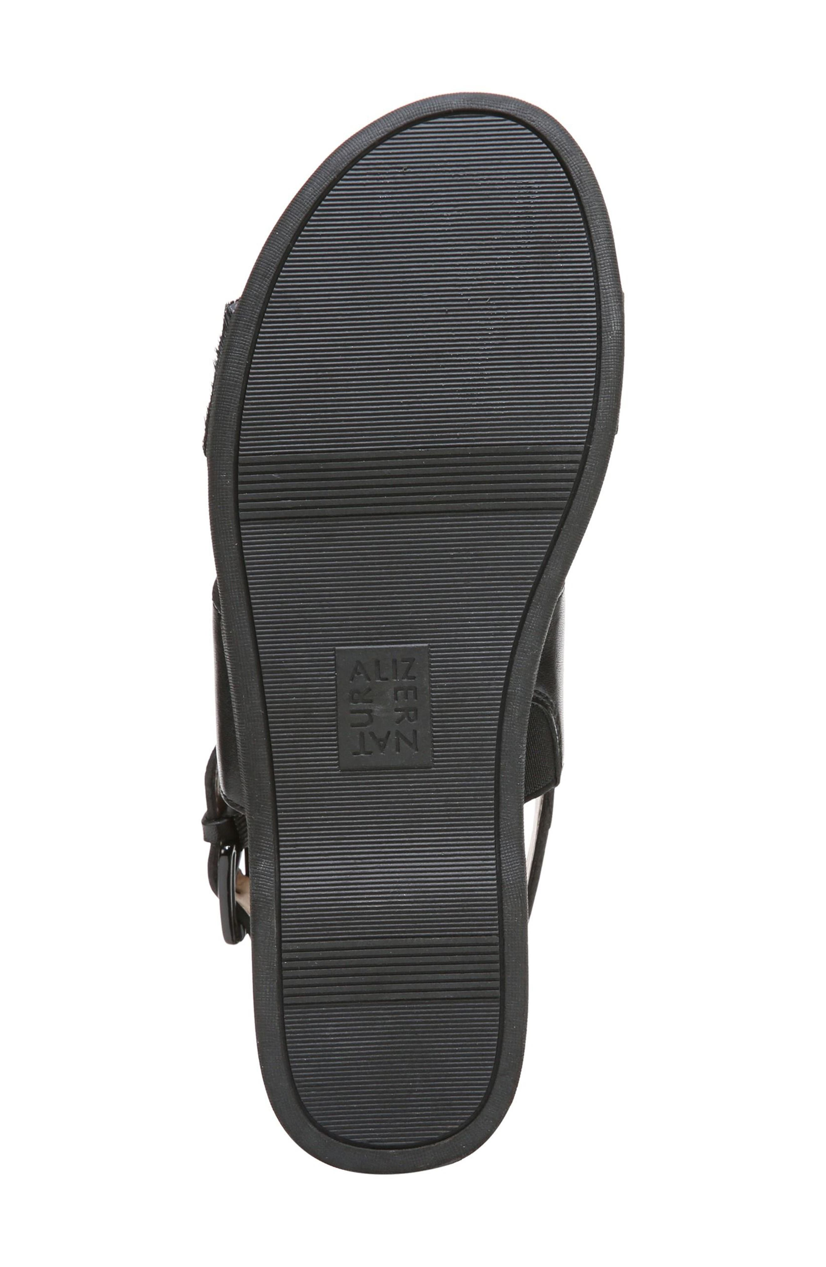 Emory Wedge Sandal,                             Alternate thumbnail 6, color,                             BLACK LEATHER