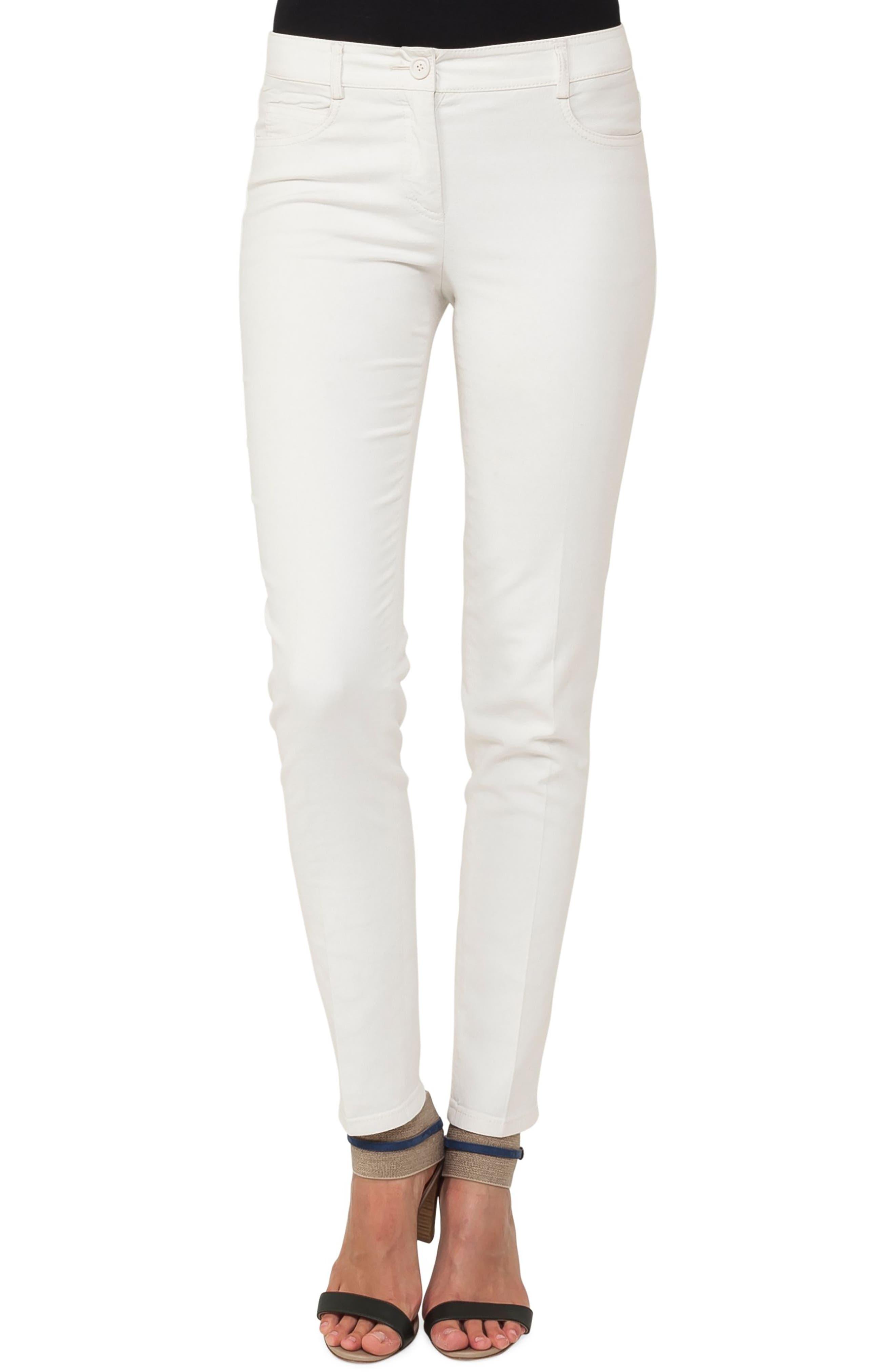 Stretch Cotton & Silk Blend Pants,                             Main thumbnail 1, color,