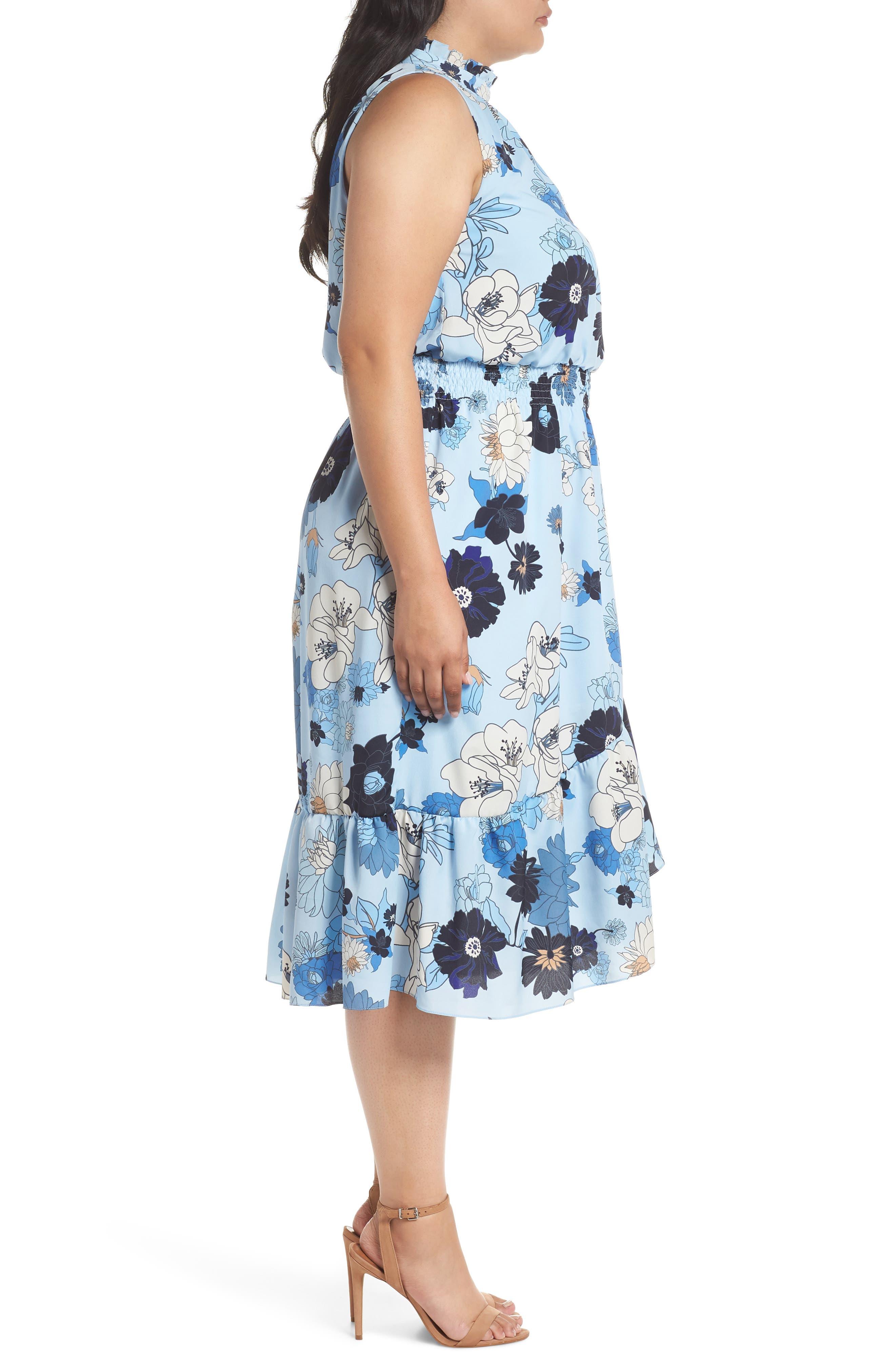 Floral Ruffle Neck Blouson Midi Dress,                             Alternate thumbnail 3, color,                             452
