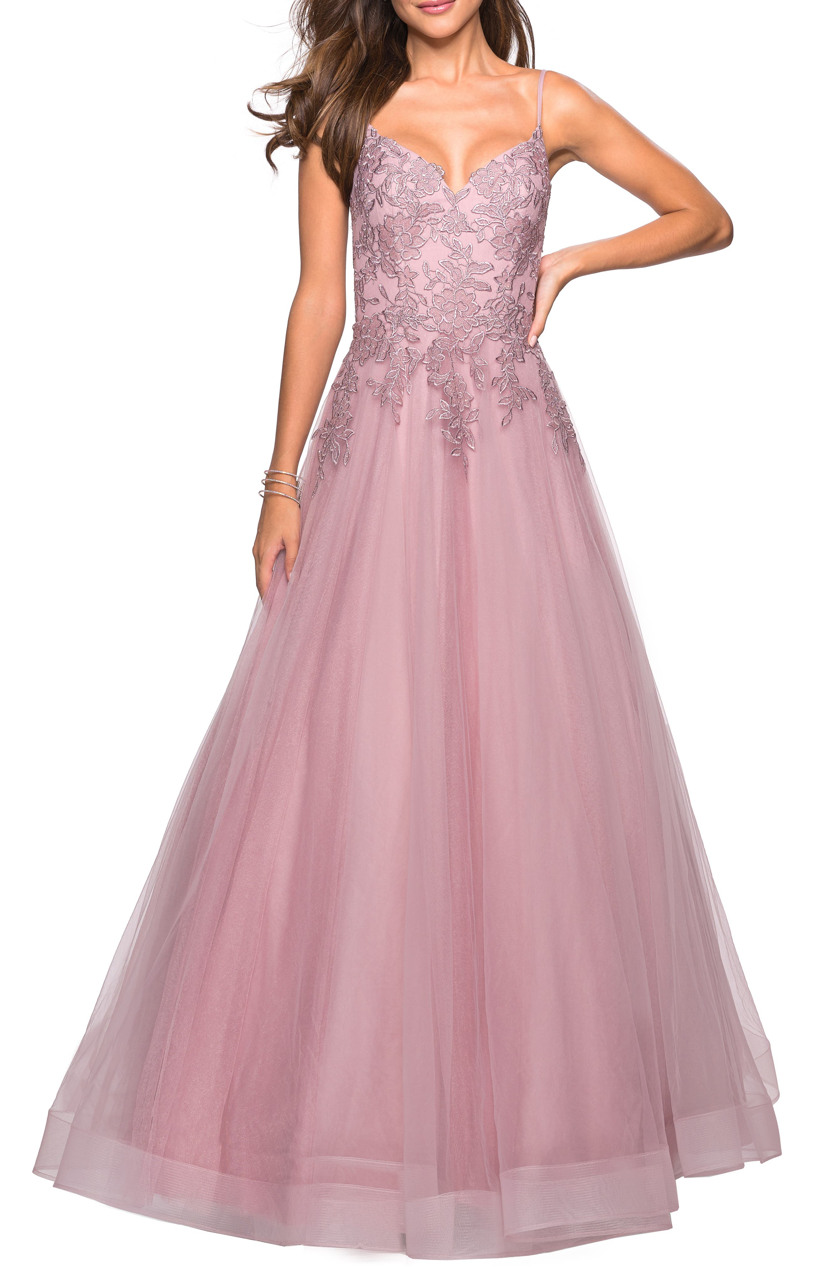 LA FEMME,                             Lace & Tulle Flared Skirt Evening Dress,                             Main thumbnail 1, color,                             MAUVE
