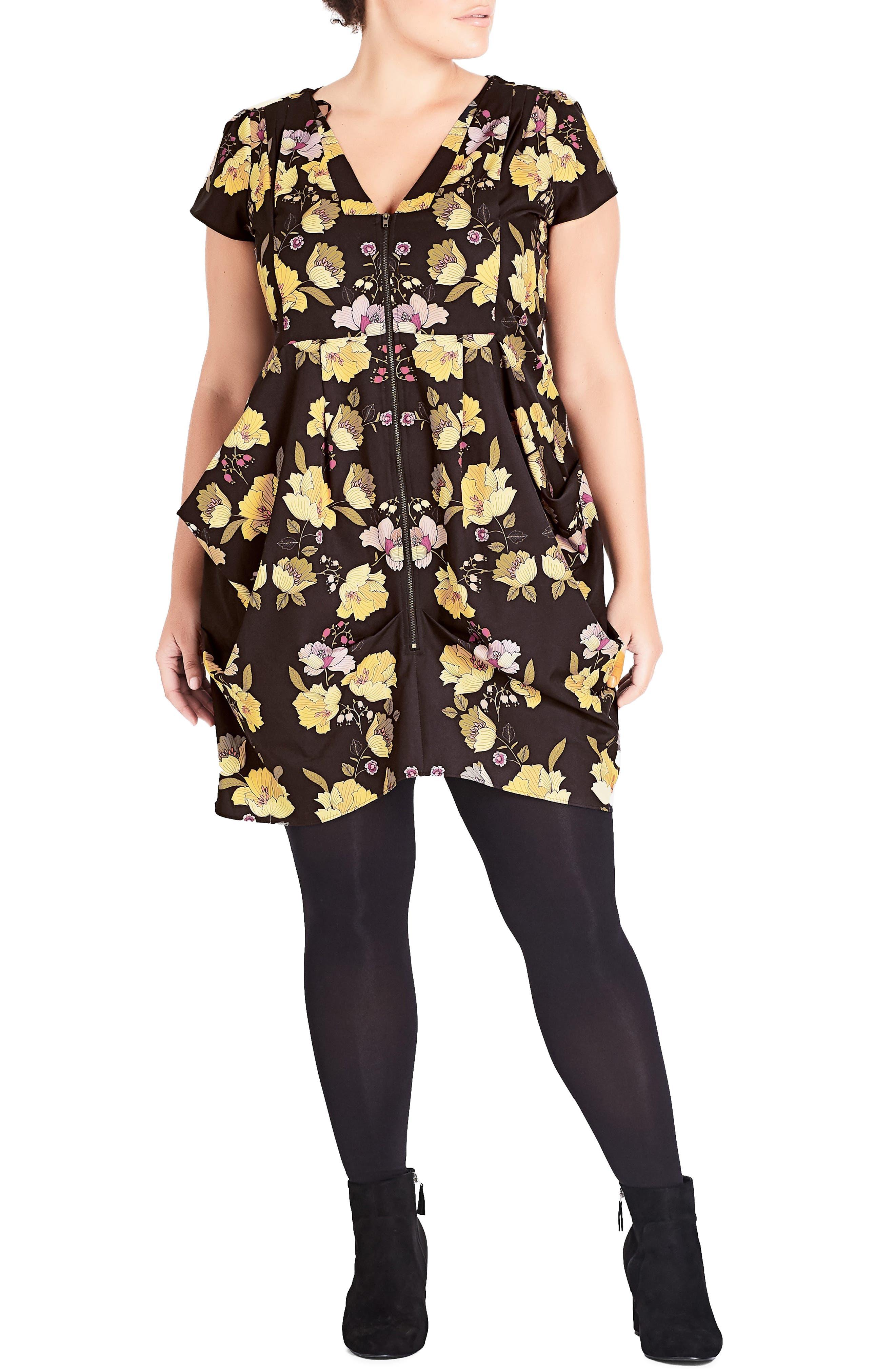 Plus Size City Chic Nouveau Mirror Tunic Dress, Black