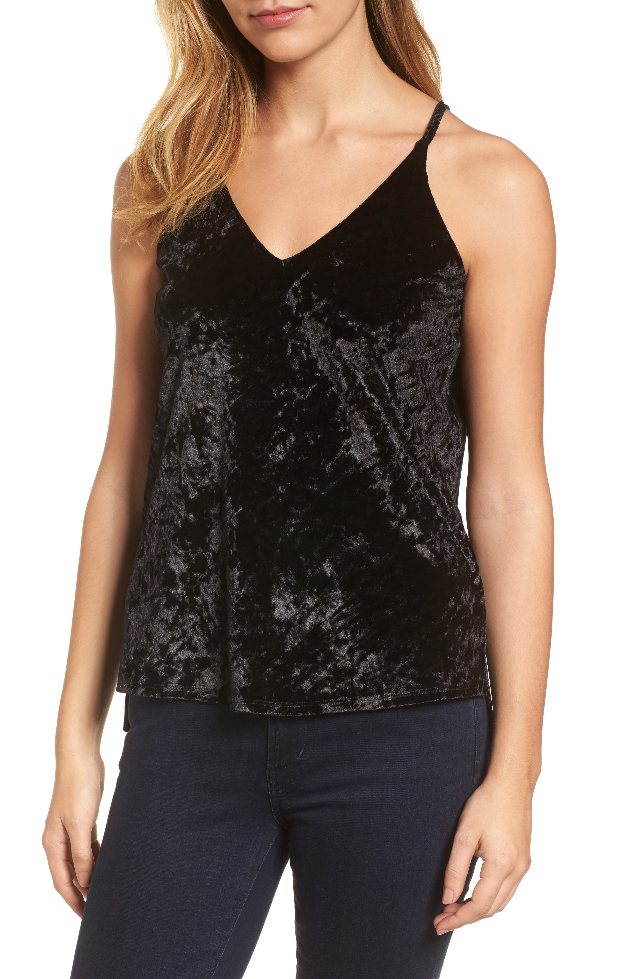 Crushed Velvet Camisole,                             Main thumbnail 1, color,                             001