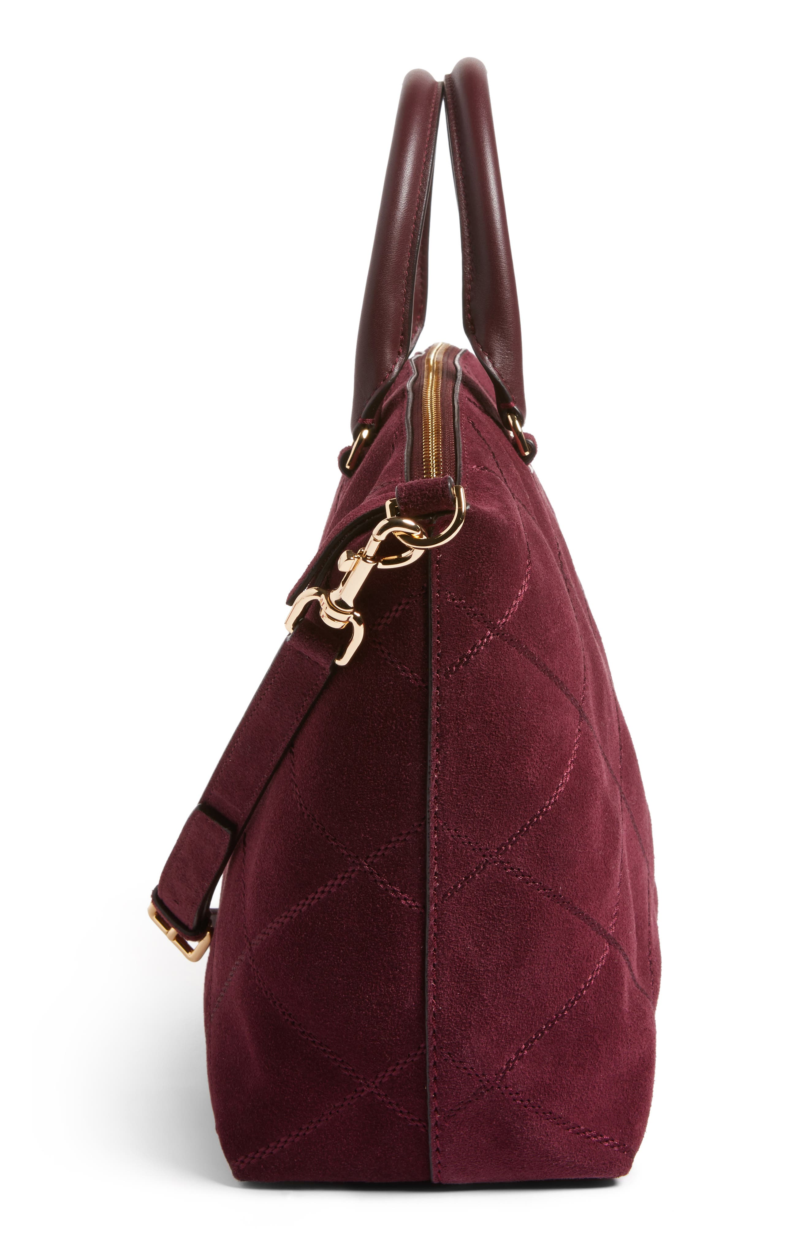 Frida Stitched Suede Satchel,                             Alternate thumbnail 5, color,                             930
