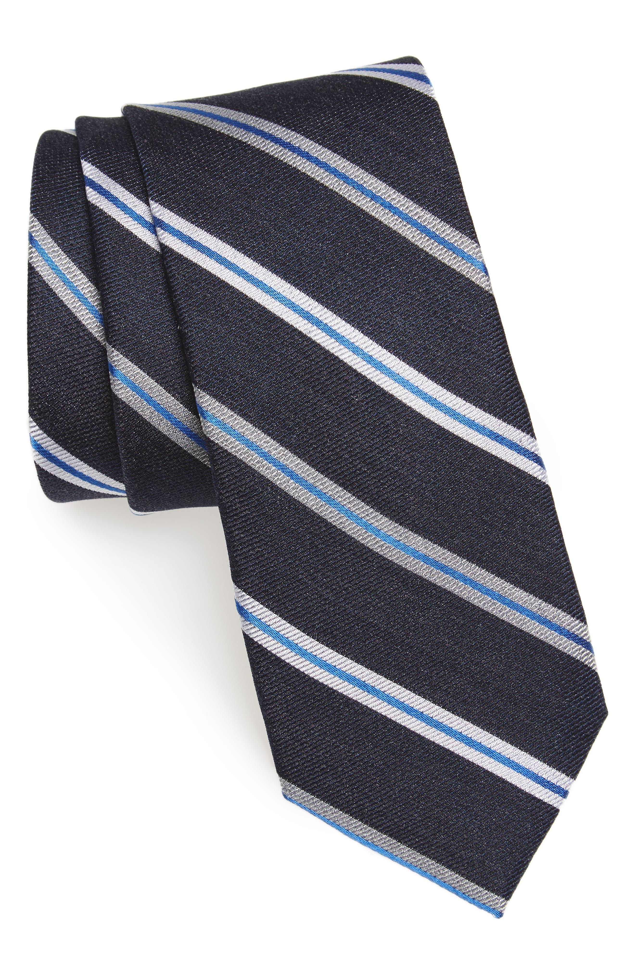 Crosby Stripe Silk Blend Tie,                             Main thumbnail 1, color,                             001