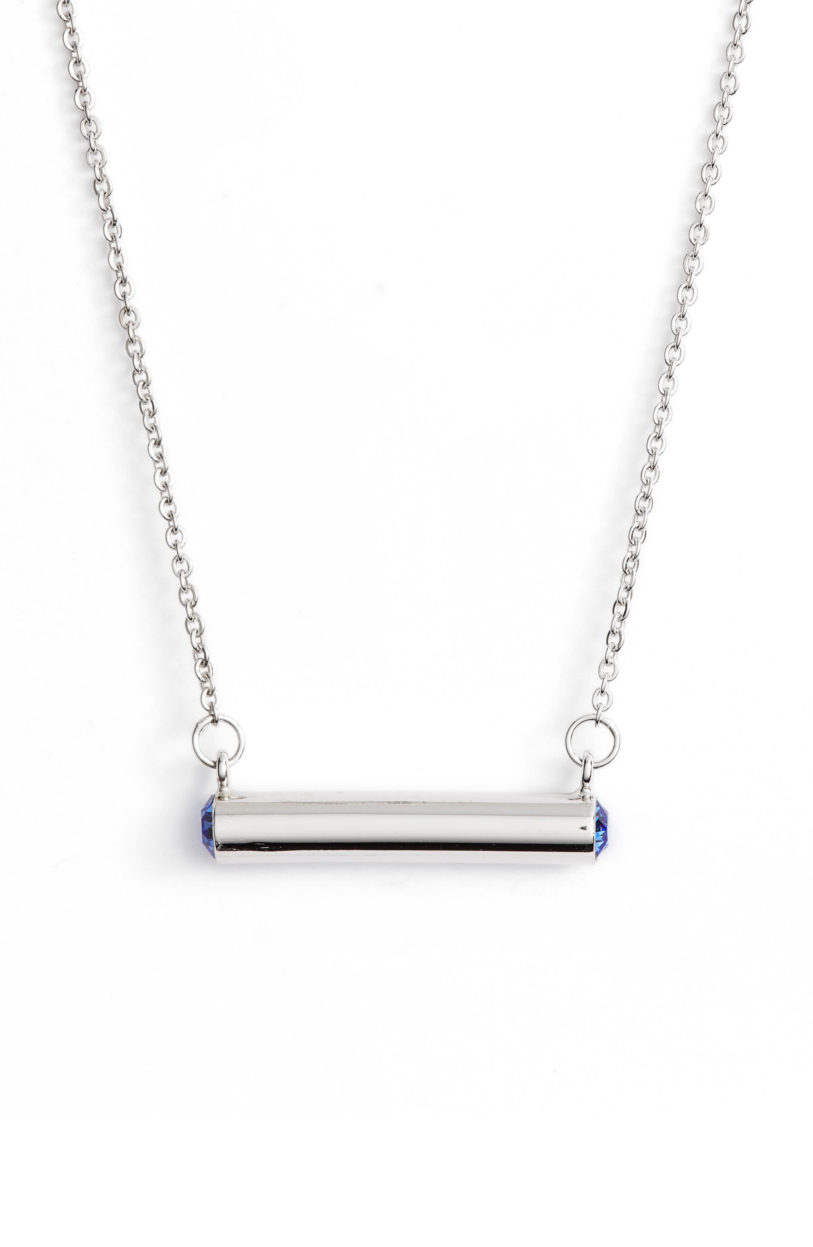 September Crystal Bar Pendant Necklace,                         Main,                         color, 040