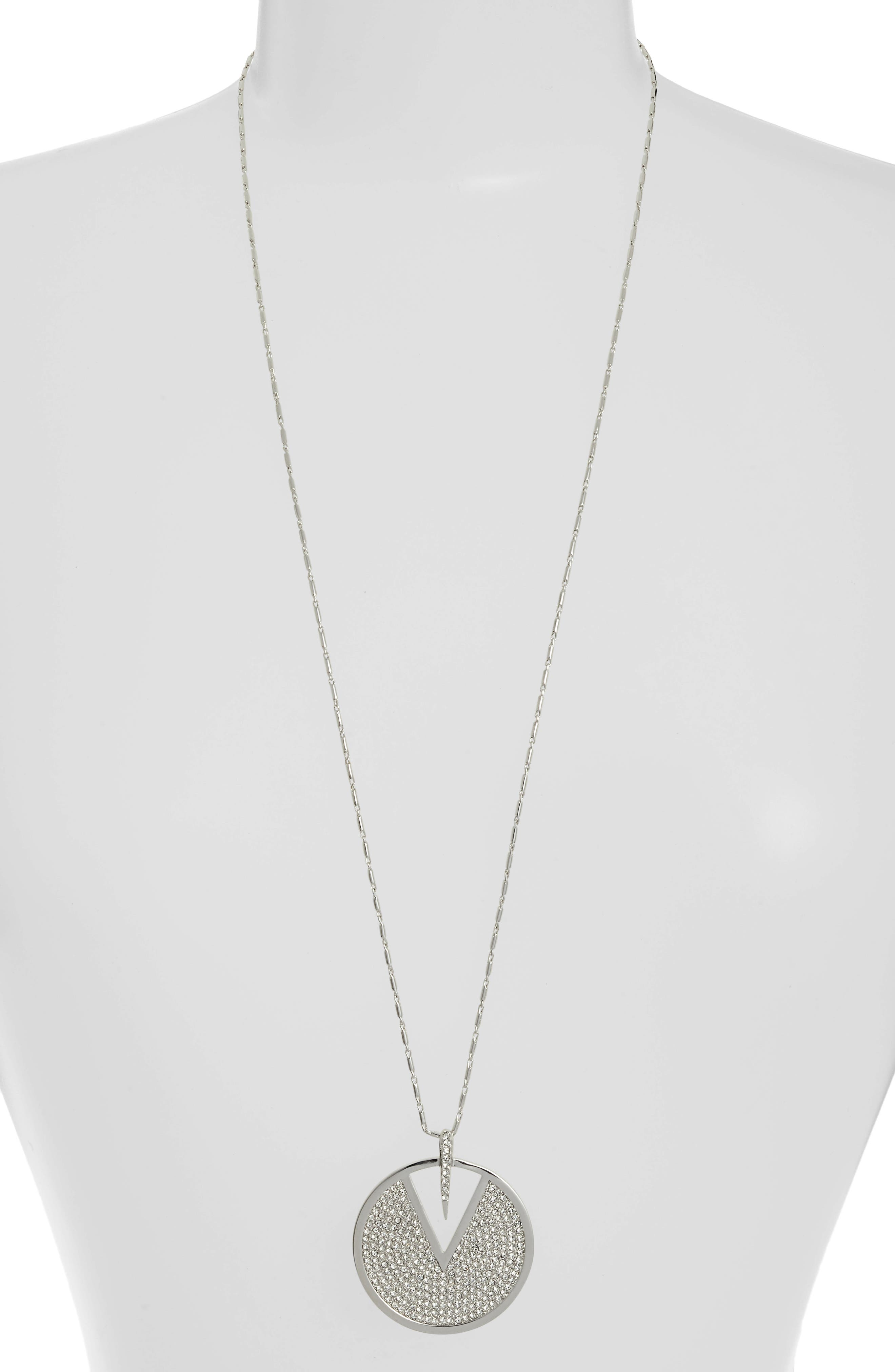 Crystal Pavé Disc Necklace,                         Main,                         color,