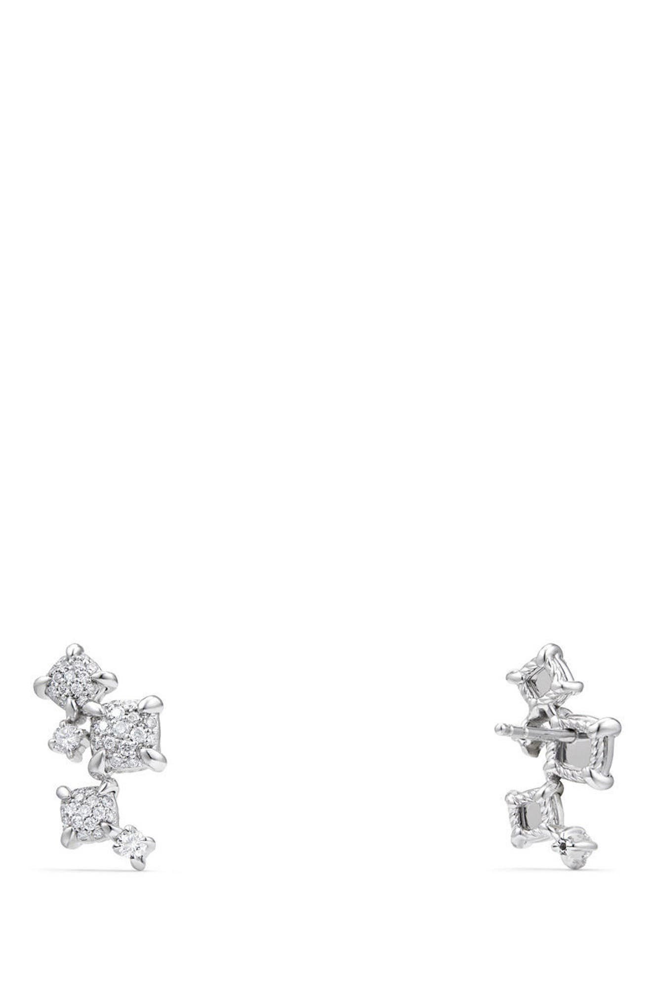 Petite Châtelaine Climber Earrings in 18K Gold with Diamonds,                             Alternate thumbnail 3, color,                             WHITE GOLD