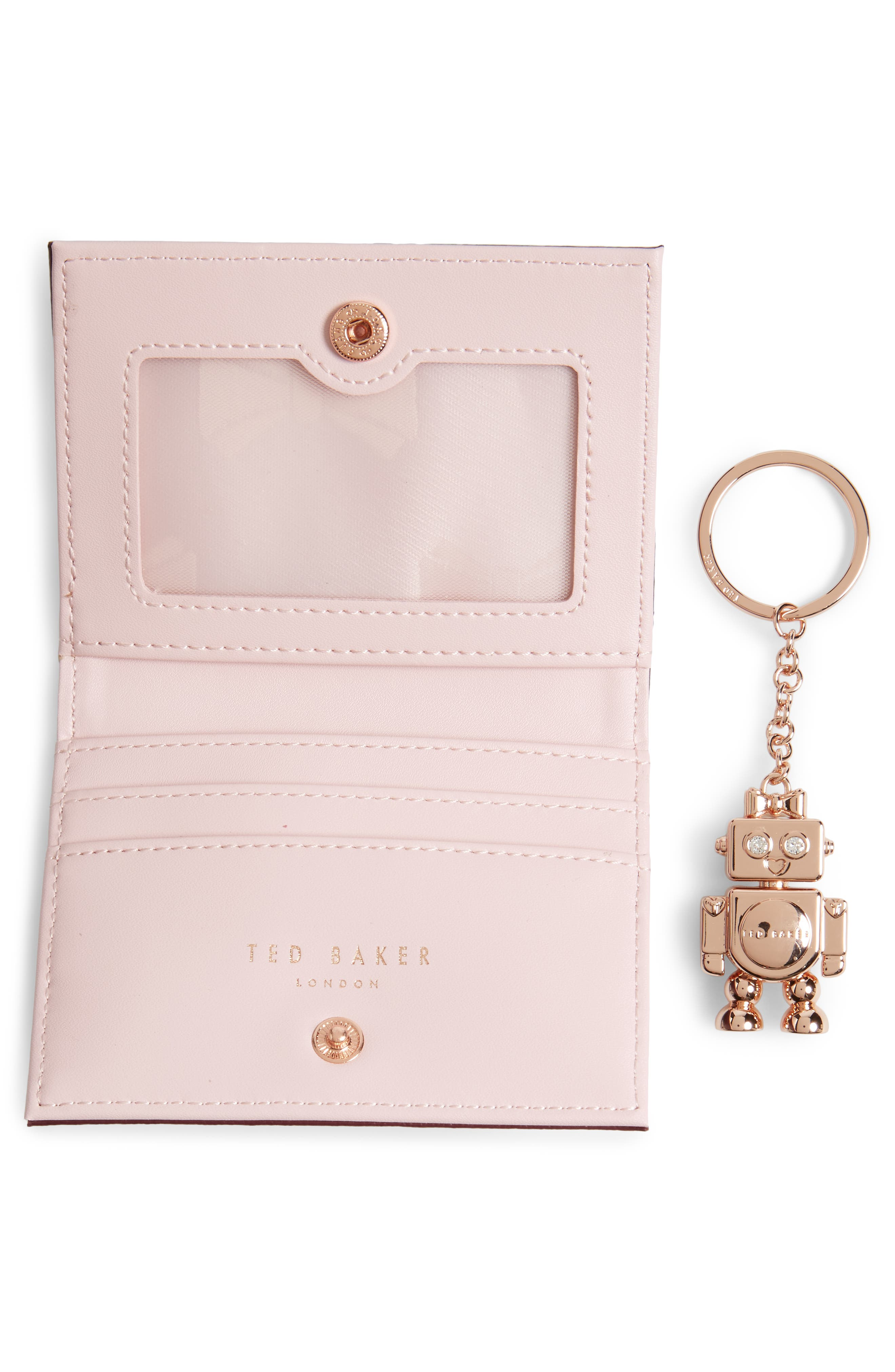 Leather Card Case with Robot Key Chain,                             Alternate thumbnail 5, color,