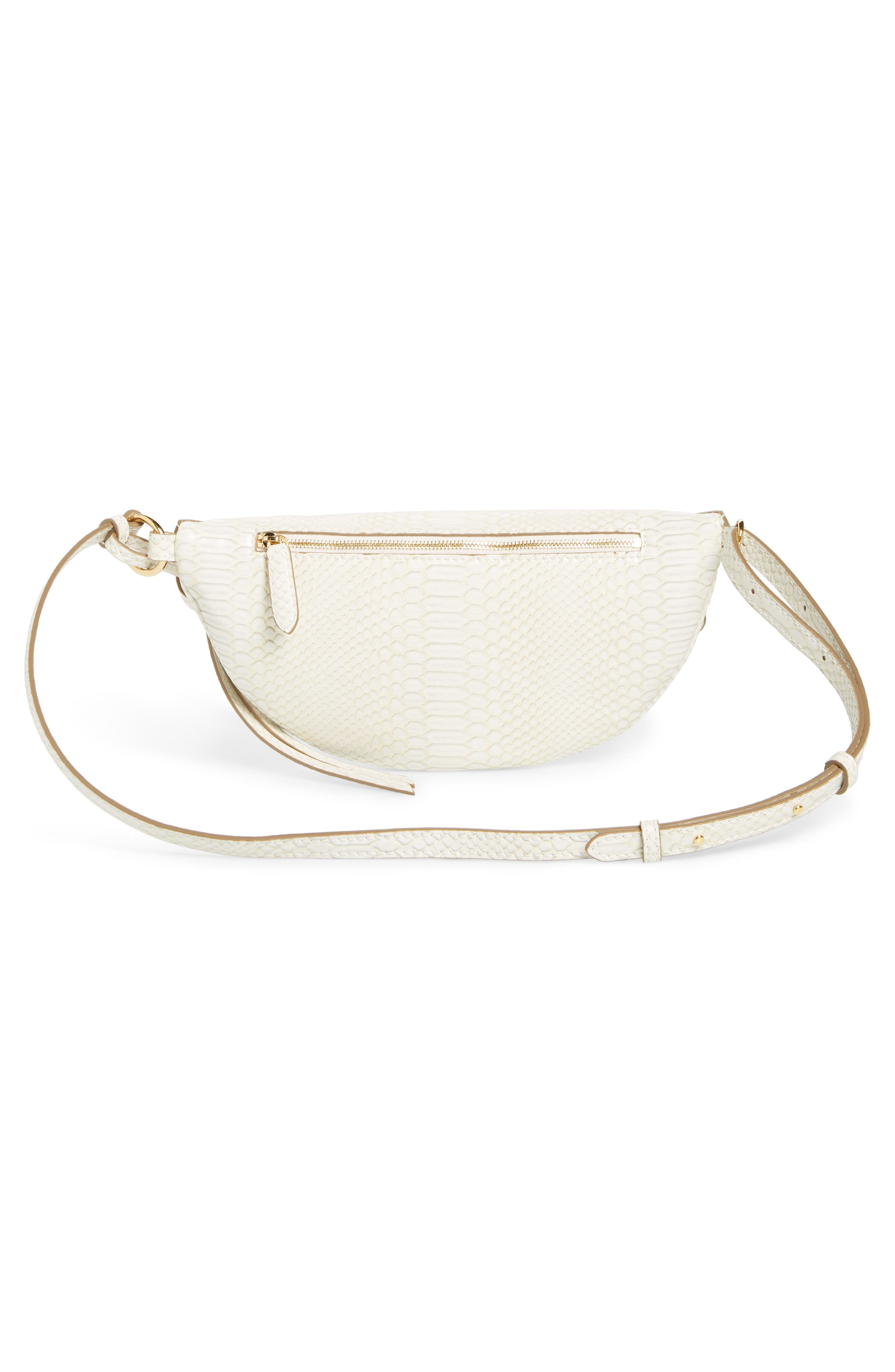 Alter Snake Faux Leather Fanny Pack,                             Alternate thumbnail 4, color,                             IVORY