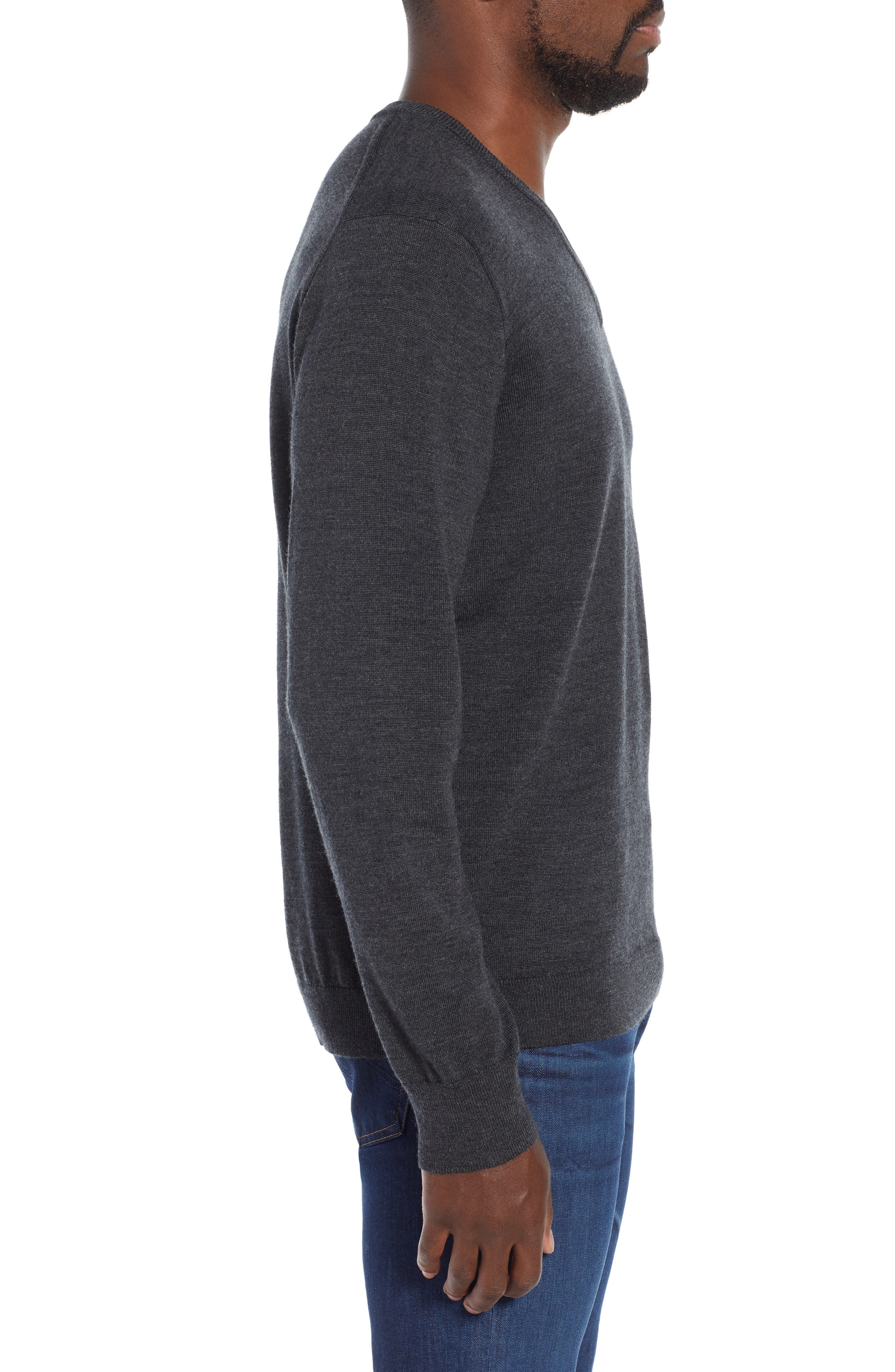 V-Neck Merino Wool Sweater,                             Alternate thumbnail 3, color,                             HEATHER CHARCOAL
