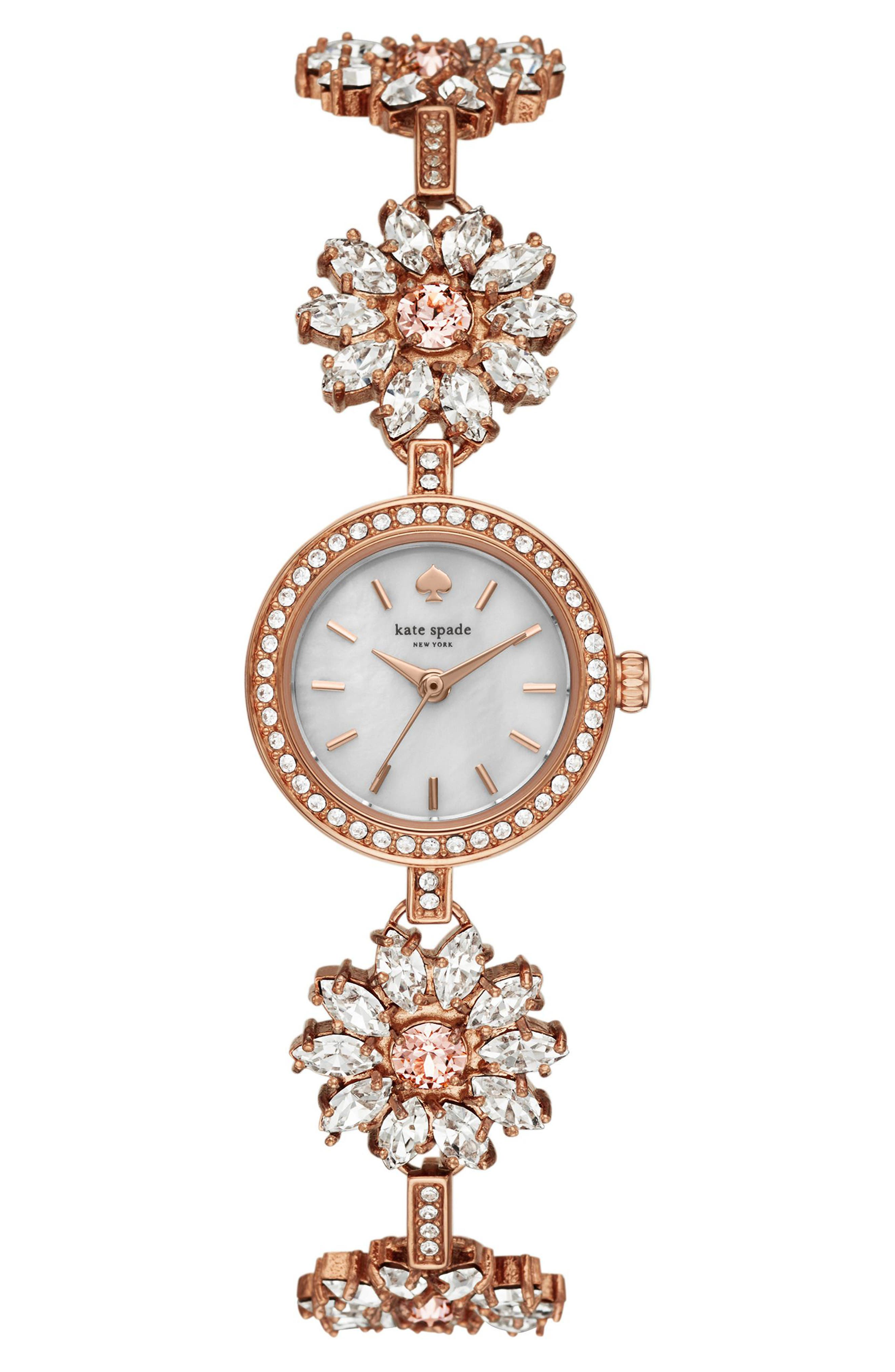 daisy chain crystal watch, 20mm,                         Main,                         color, ROSE GOLD/ MOP/ ROSE GOLD