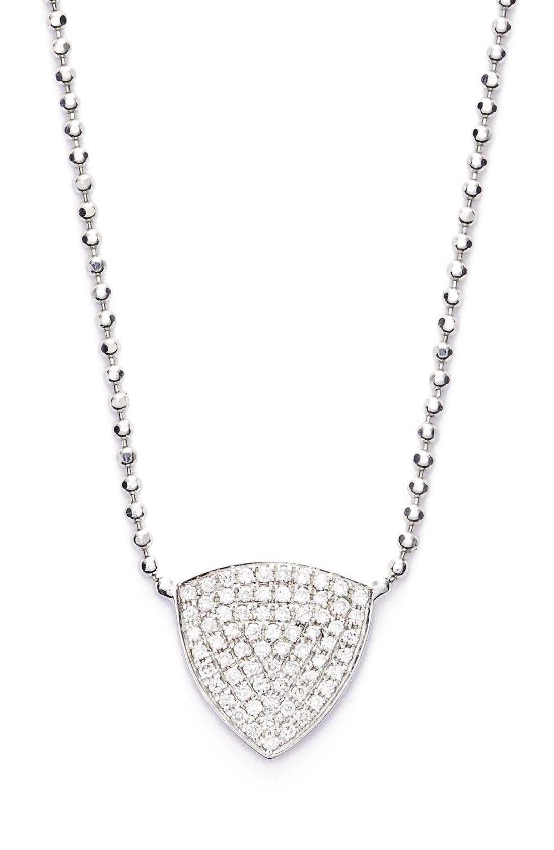 'Aurora' Diamond Pavé Triangle Necklace,                             Main thumbnail 1, color,                             WHITE GOLD