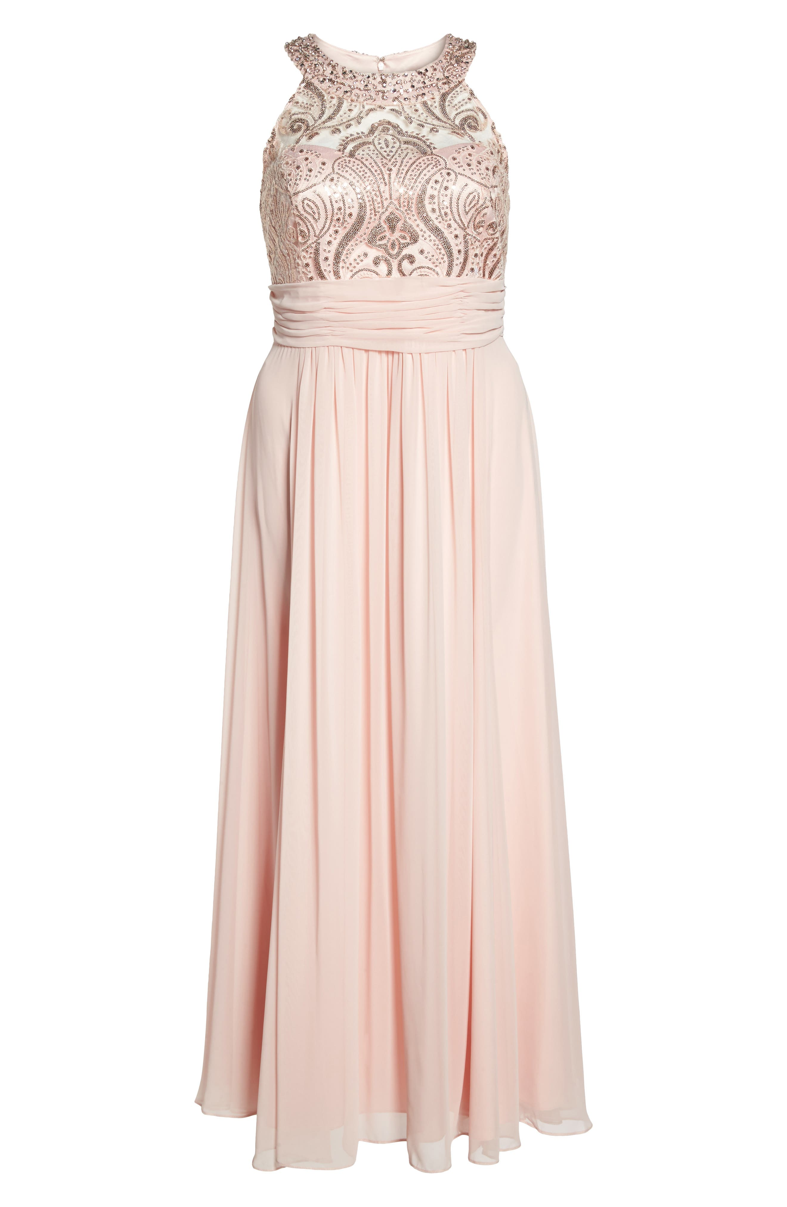 Sequin & Lace Bodice Chiffon Gown,                             Alternate thumbnail 6, color,                             684