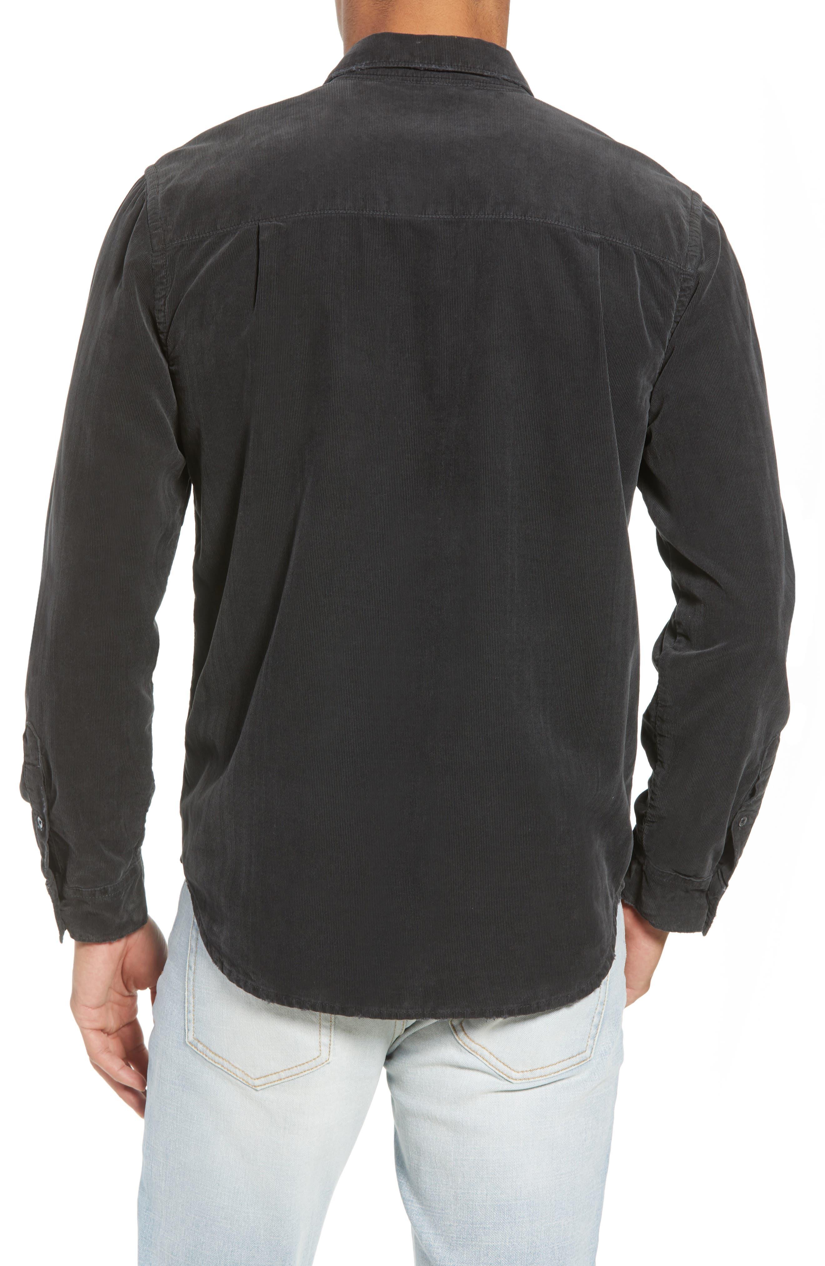 Slim Fit Corduroy Shirt,                             Alternate thumbnail 3, color,                             001