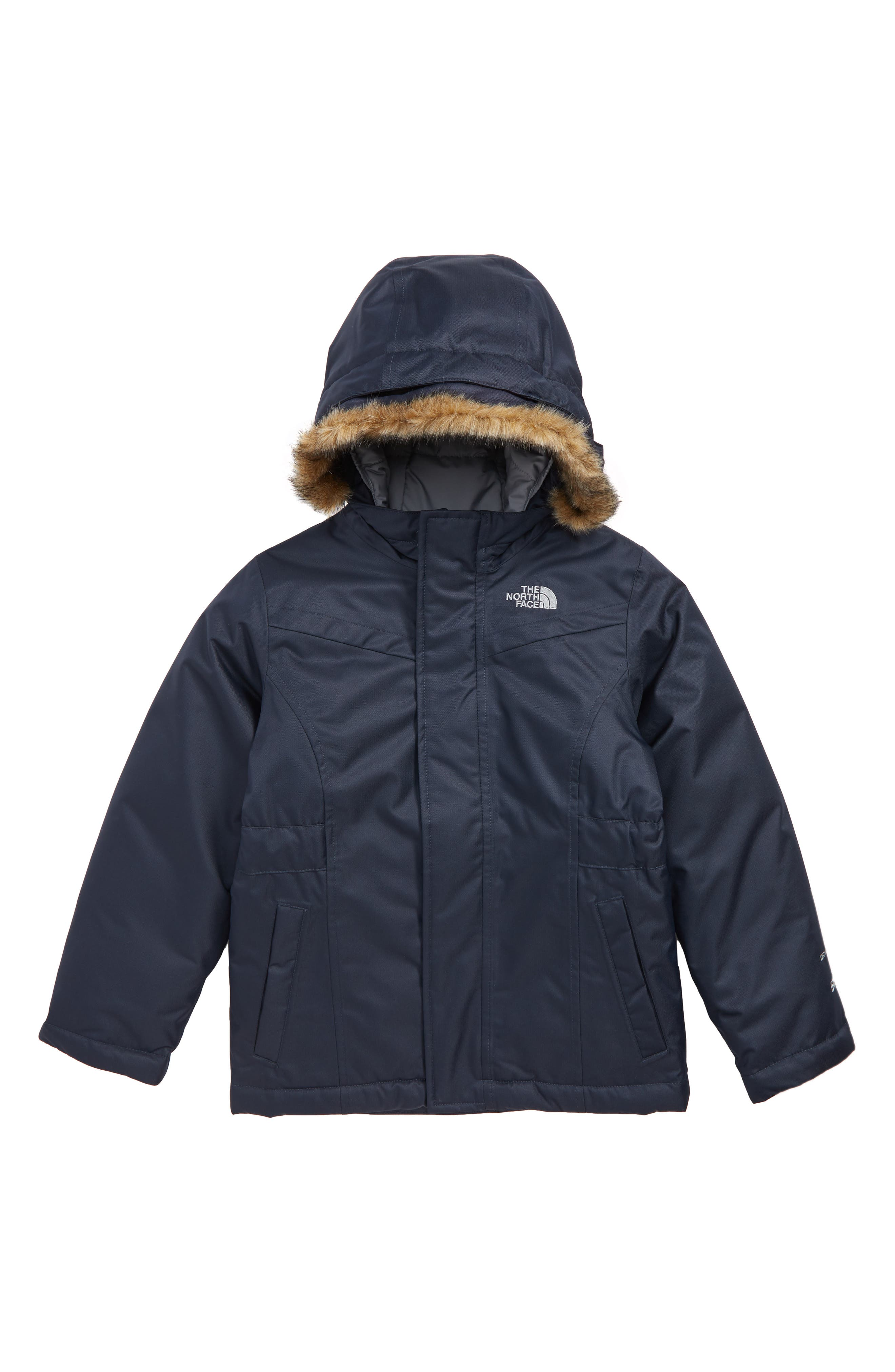 Greenland Waterproof 550-Fill-Power Down Jacket with Faux Fur Trim, Main, color, URBAN NAVY