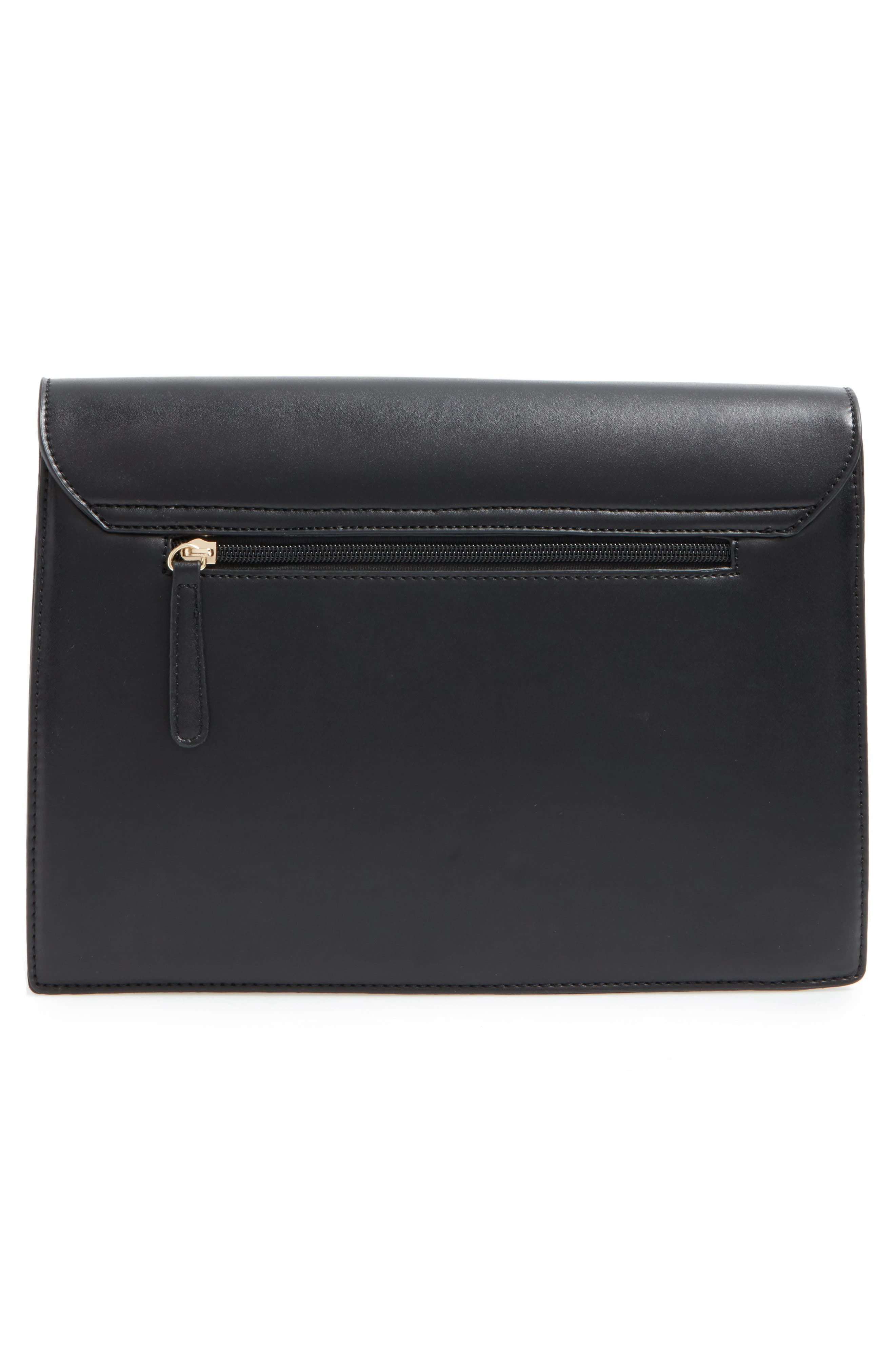 Kaitlyn Faux Leather Clutch,                             Alternate thumbnail 3, color,                             001