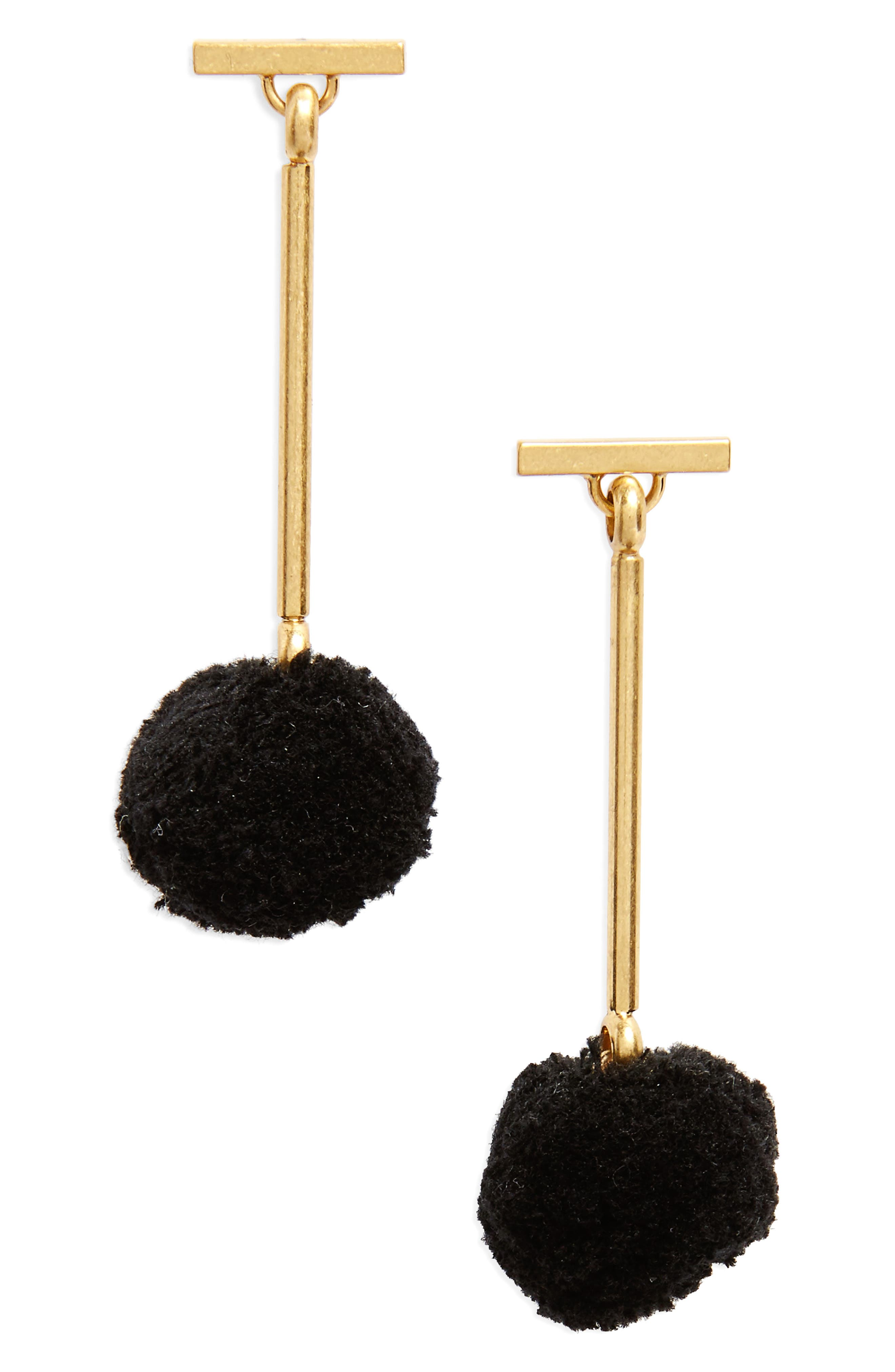 Pompom Drop Earrings,                         Main,                         color, 001