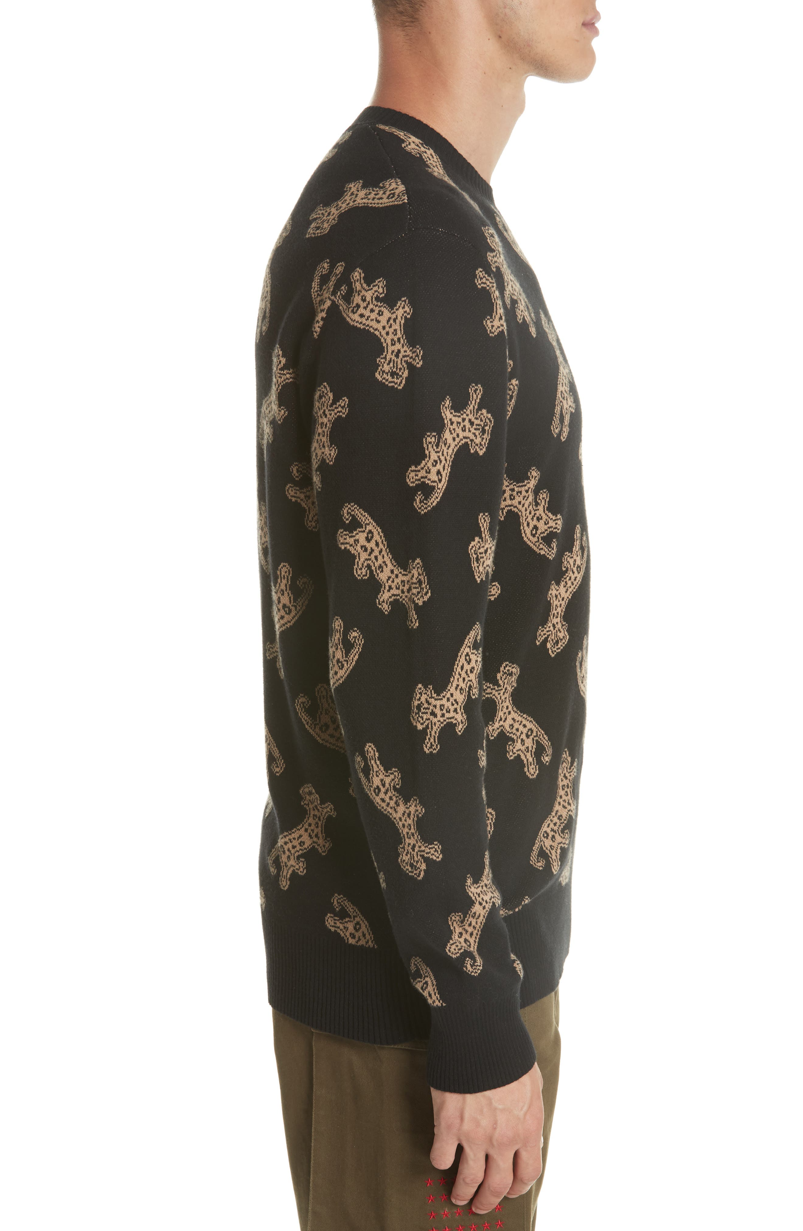Leopard Jacquard Sweater,                             Alternate thumbnail 3, color,                             BLACK