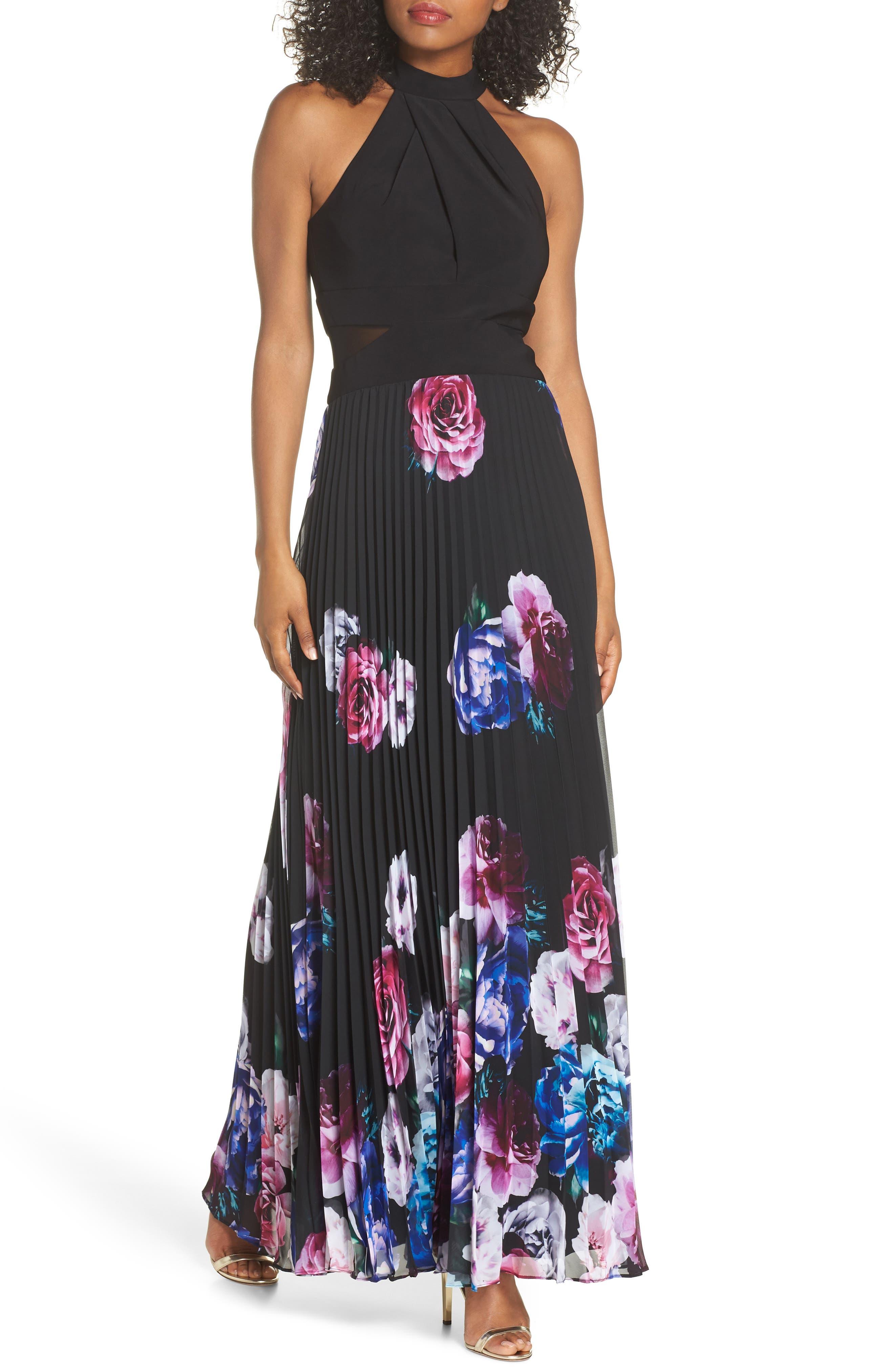 Halter Neck Gown,                         Main,                         color, BLACK/ MAGENTA